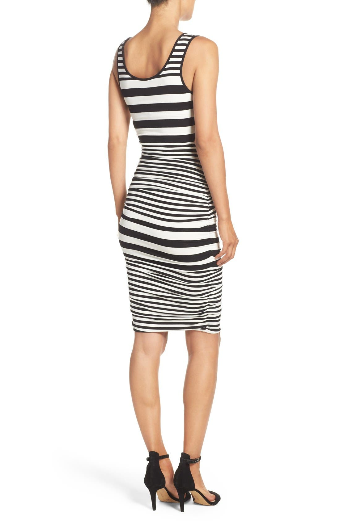 Stripe Ruched Jersey Tank Dress,                             Alternate thumbnail 5, color,                             001