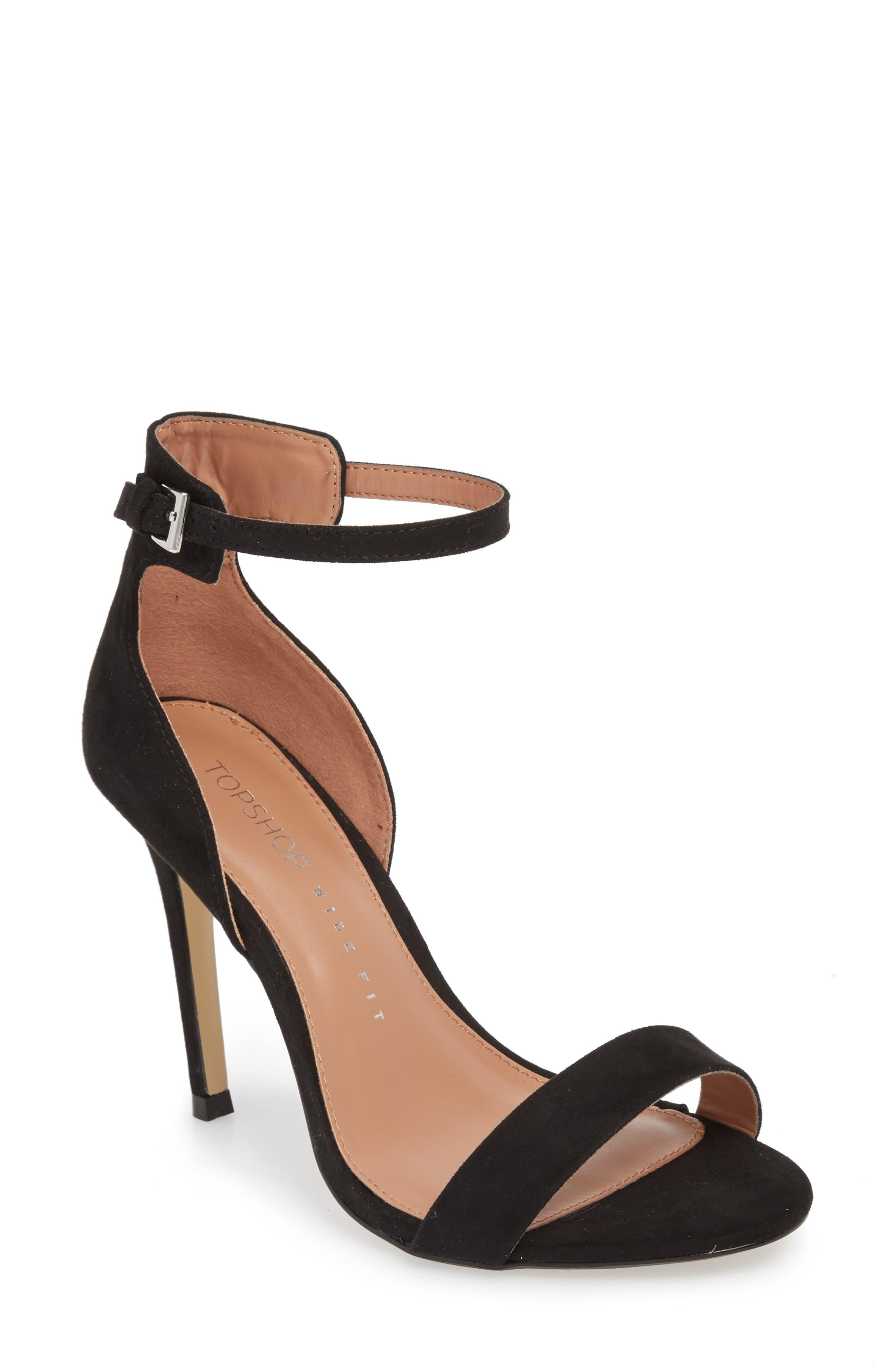 Marcelle Ankle Strap Sandal,                             Main thumbnail 1, color,                             BLACK
