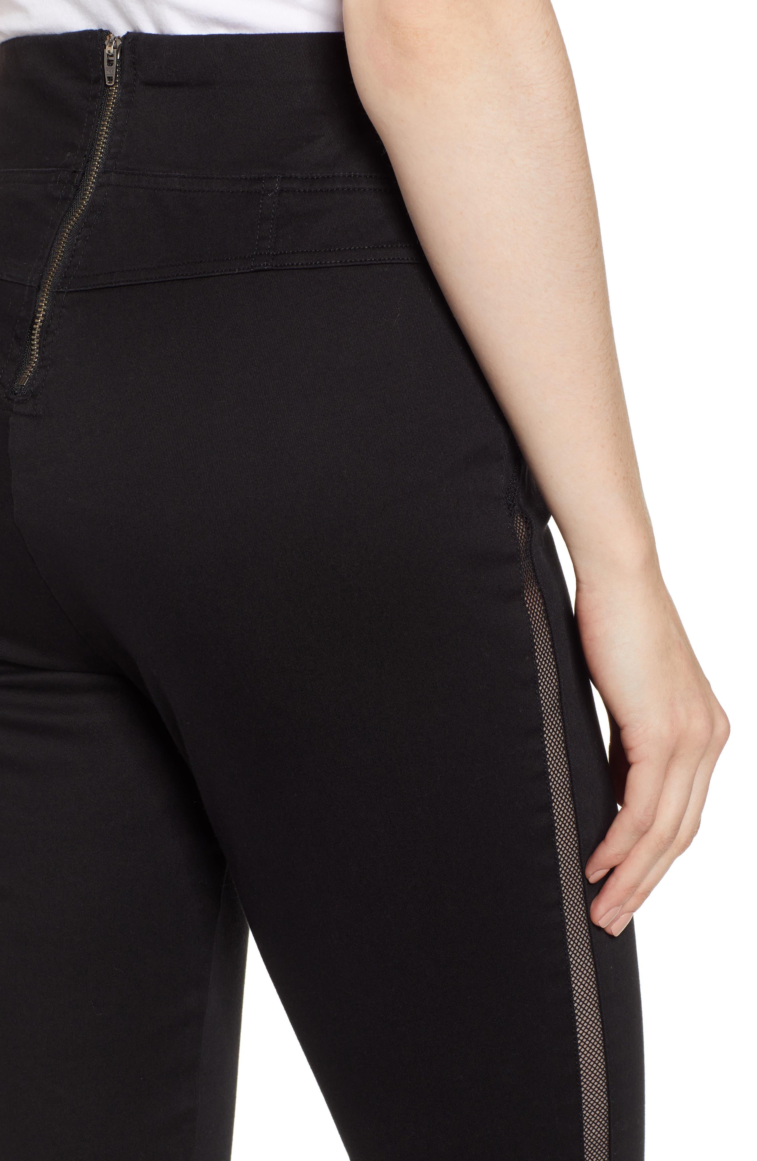 HUE,                             High Waist Mesh Tuxedo Stripe Denim Leggings,                             Alternate thumbnail 5, color,                             BLACK