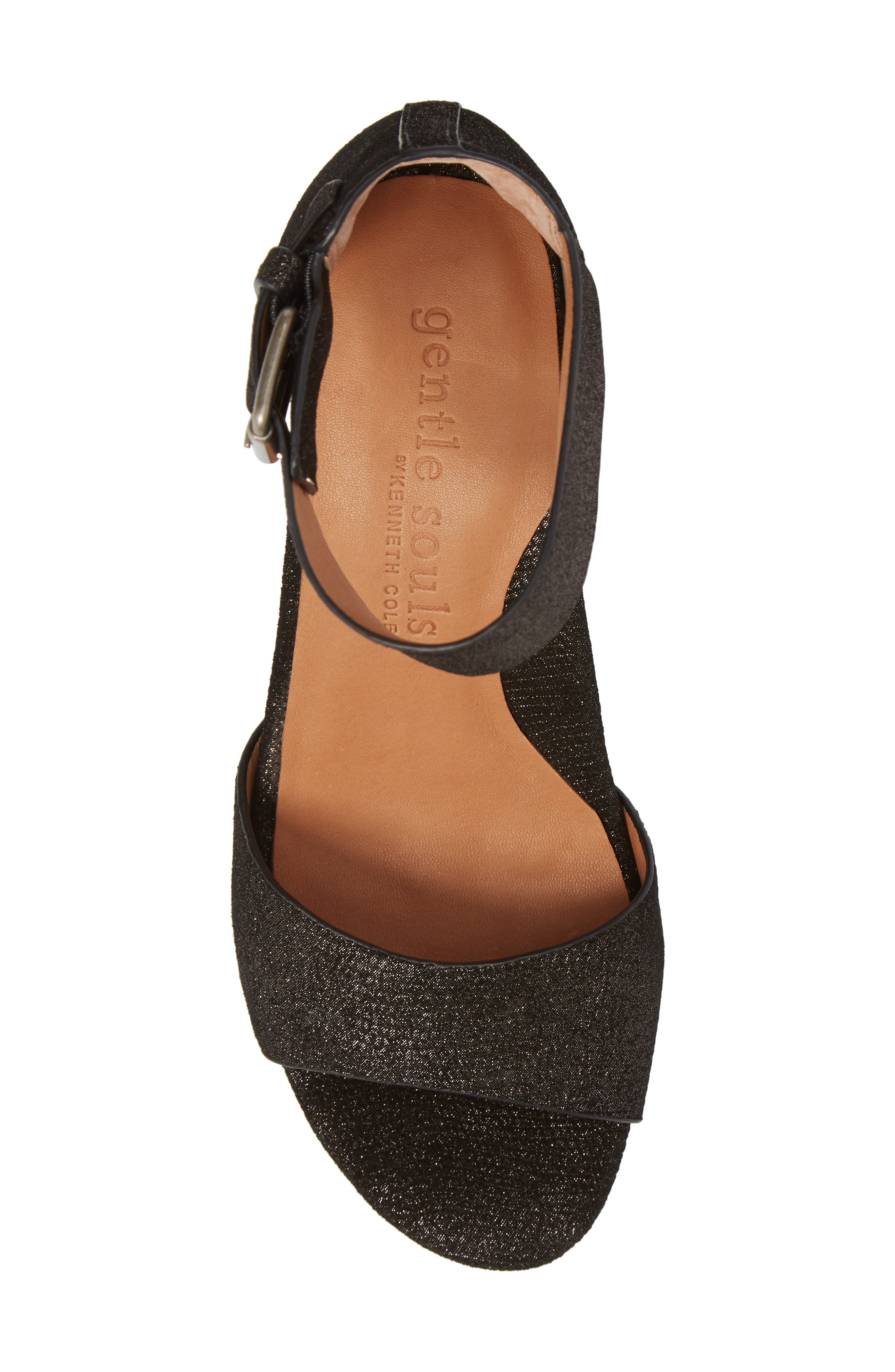 by Kenneth Cole Christa Block Heel Sandal,                             Alternate thumbnail 5, color,                             BLACK EMBOSSED LEATHER
