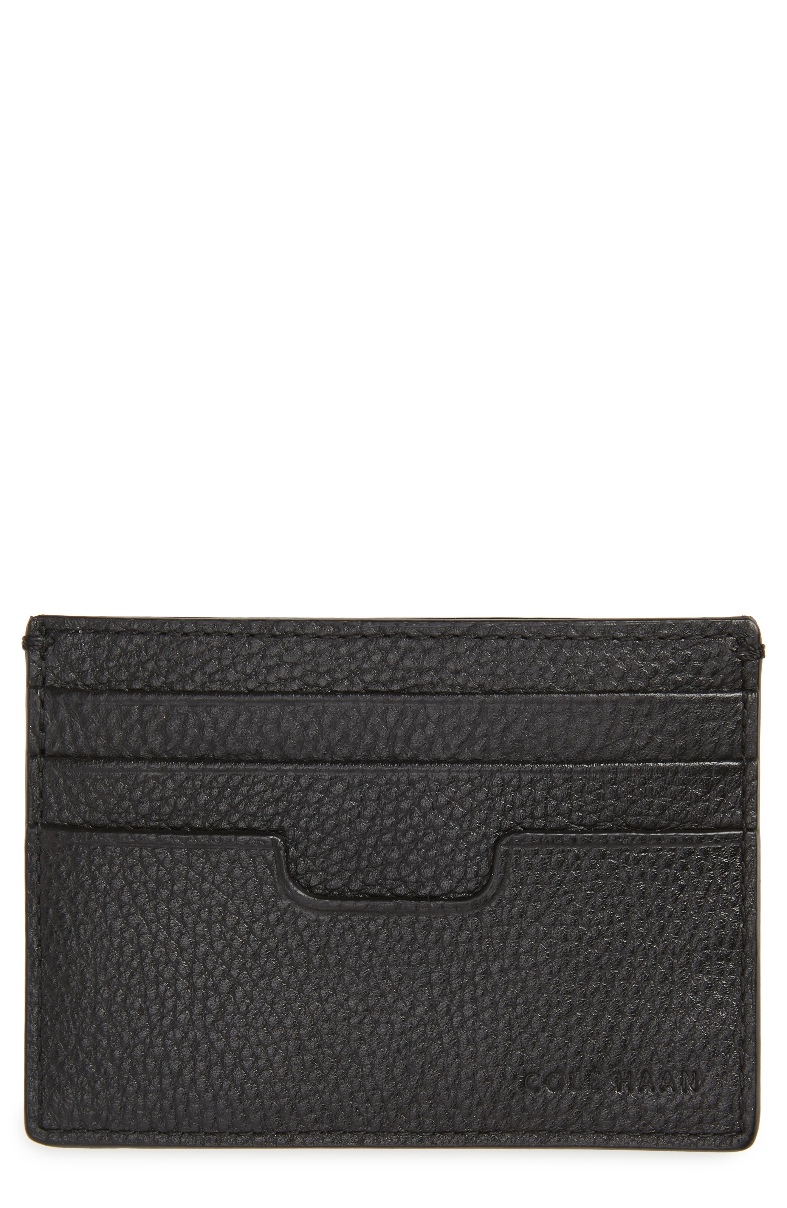 Colby Leather Card Case,                             Main thumbnail 1, color,                             BLACK