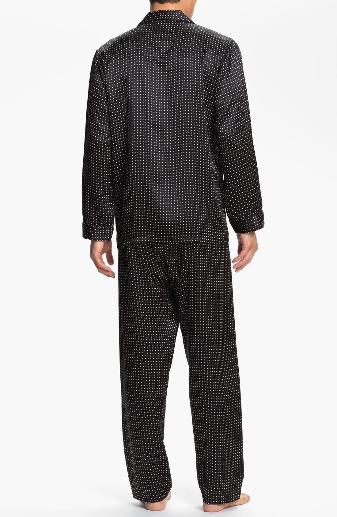 Dot Silk Pajamas,                             Alternate thumbnail 2, color,                             BLACK