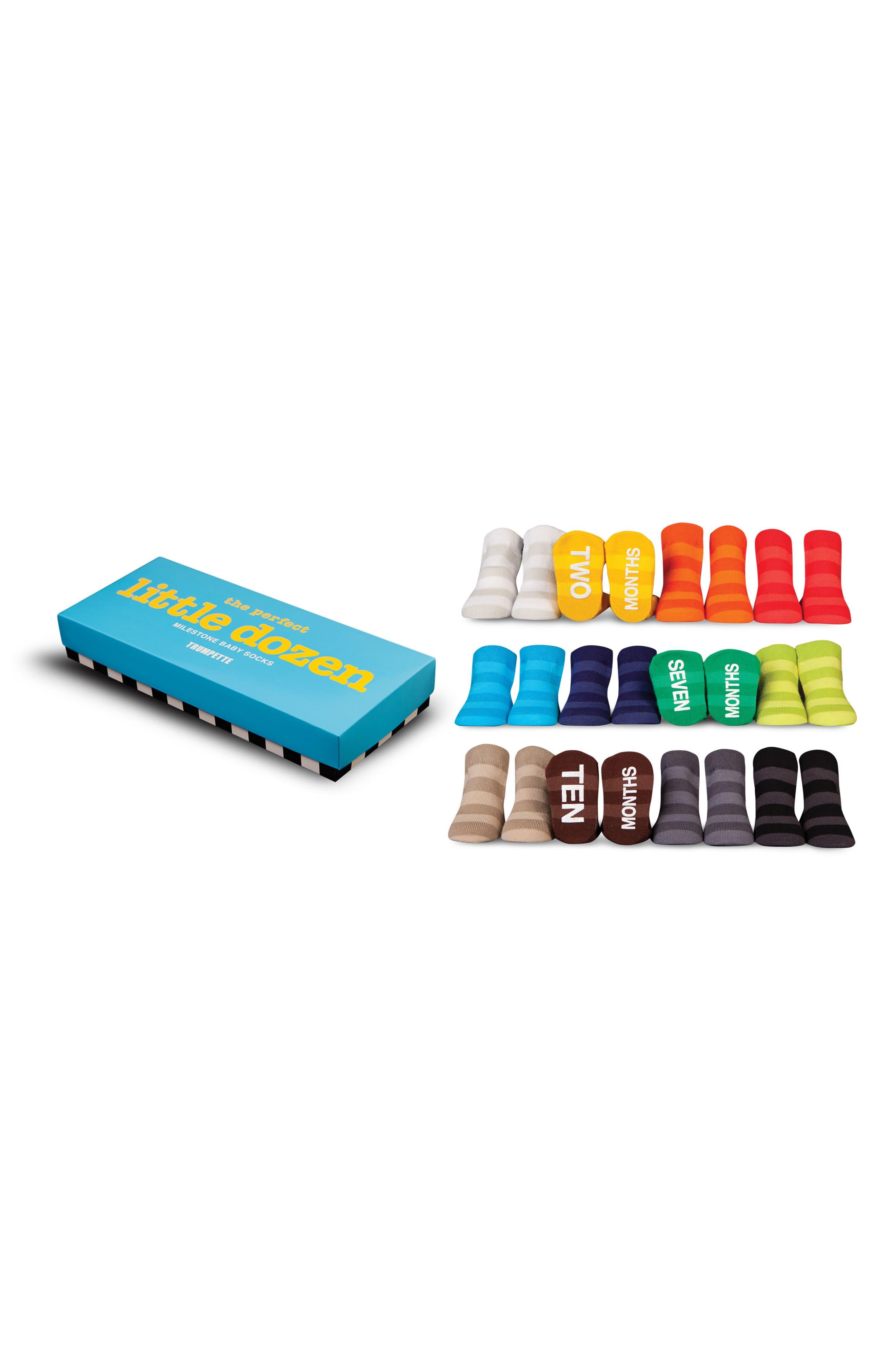 The Perfect Little Dozen 12-Pack Milestone Socks,                         Main,                         color, 100