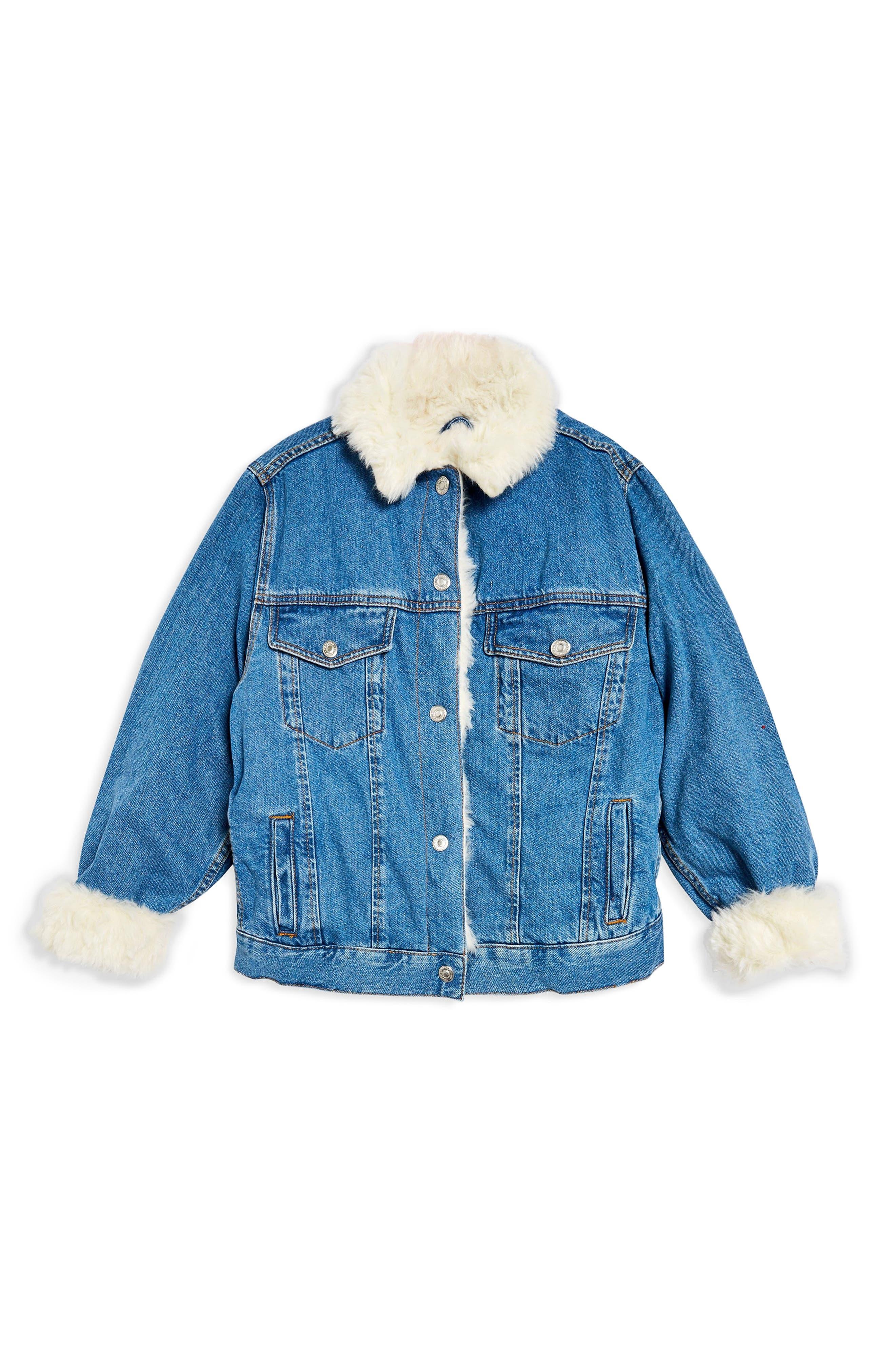 Faux Fur Denim Jacket,                             Alternate thumbnail 6, color,                             MID DENIM