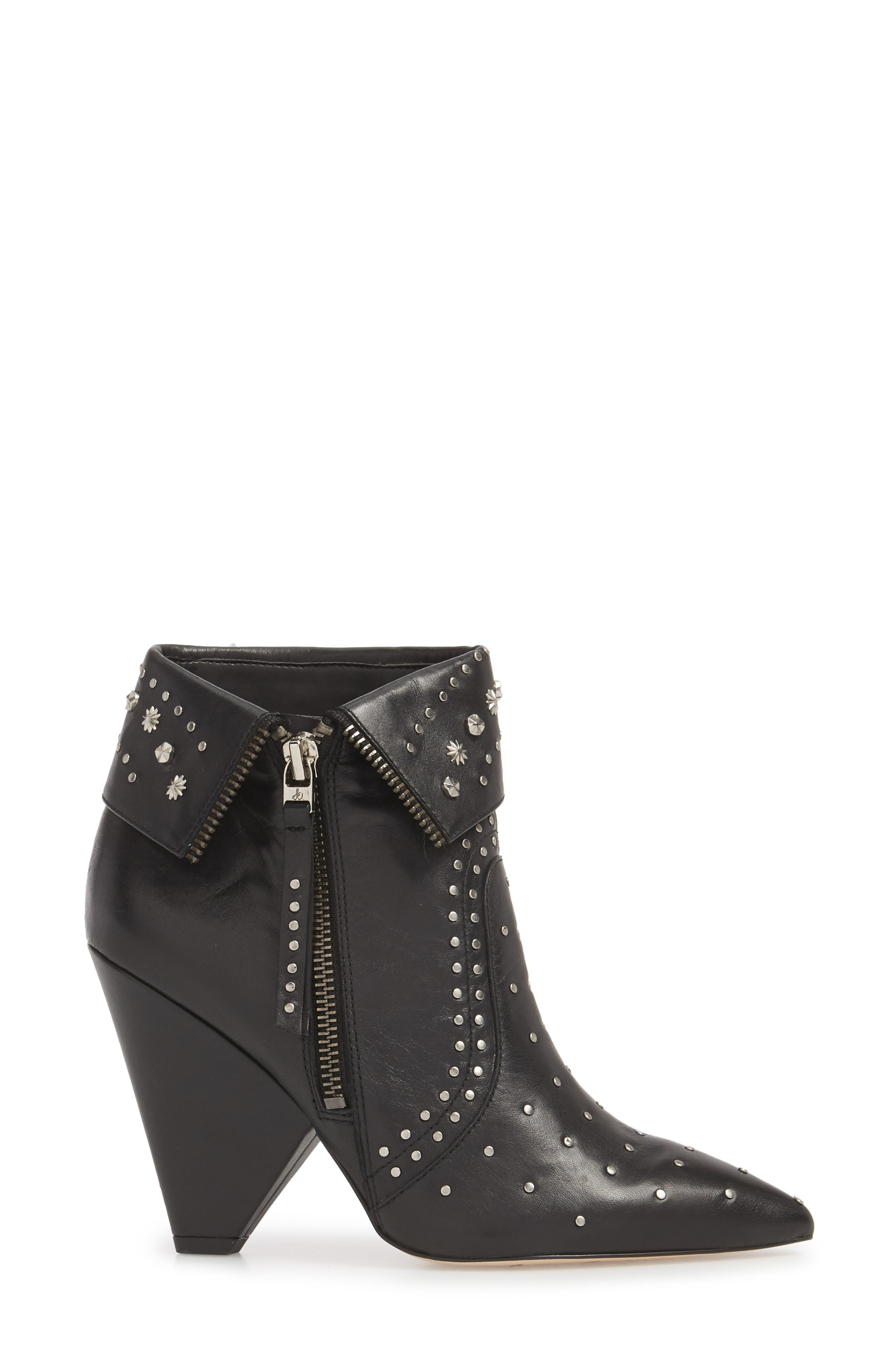 Royce Studded Bootie,                             Alternate thumbnail 3, color,                             BLACK LEATHER