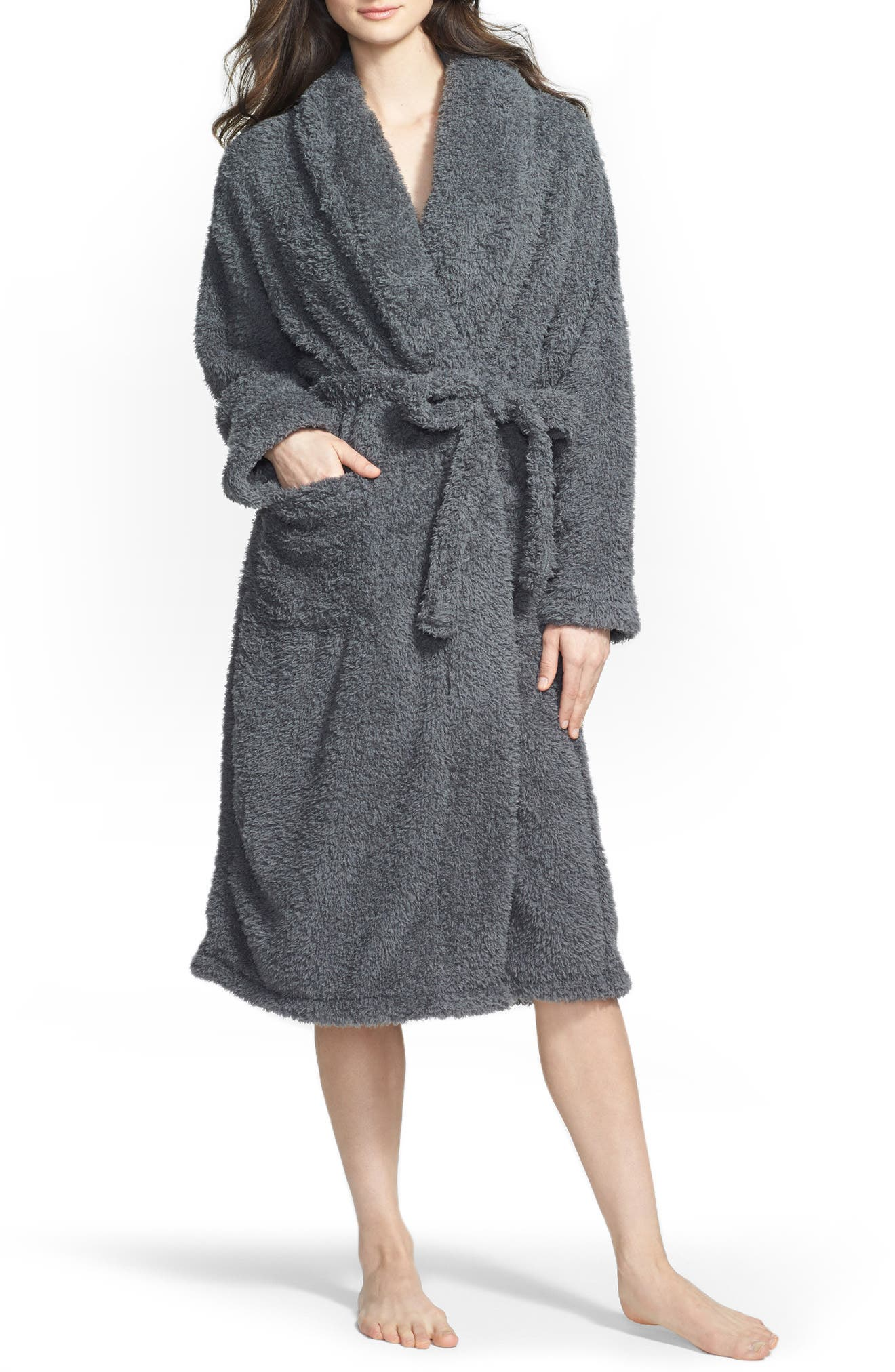 Chenille Robe,                             Alternate thumbnail 3, color,                             CHARCOAL