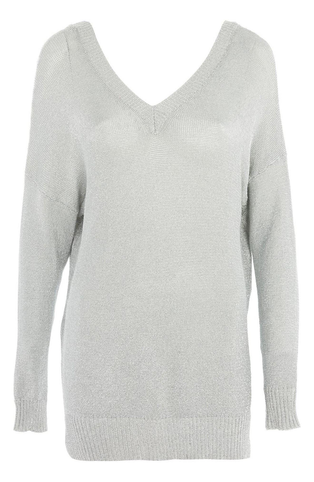 Metallic Longline V-Neck Sweater,                             Alternate thumbnail 4, color,                             040
