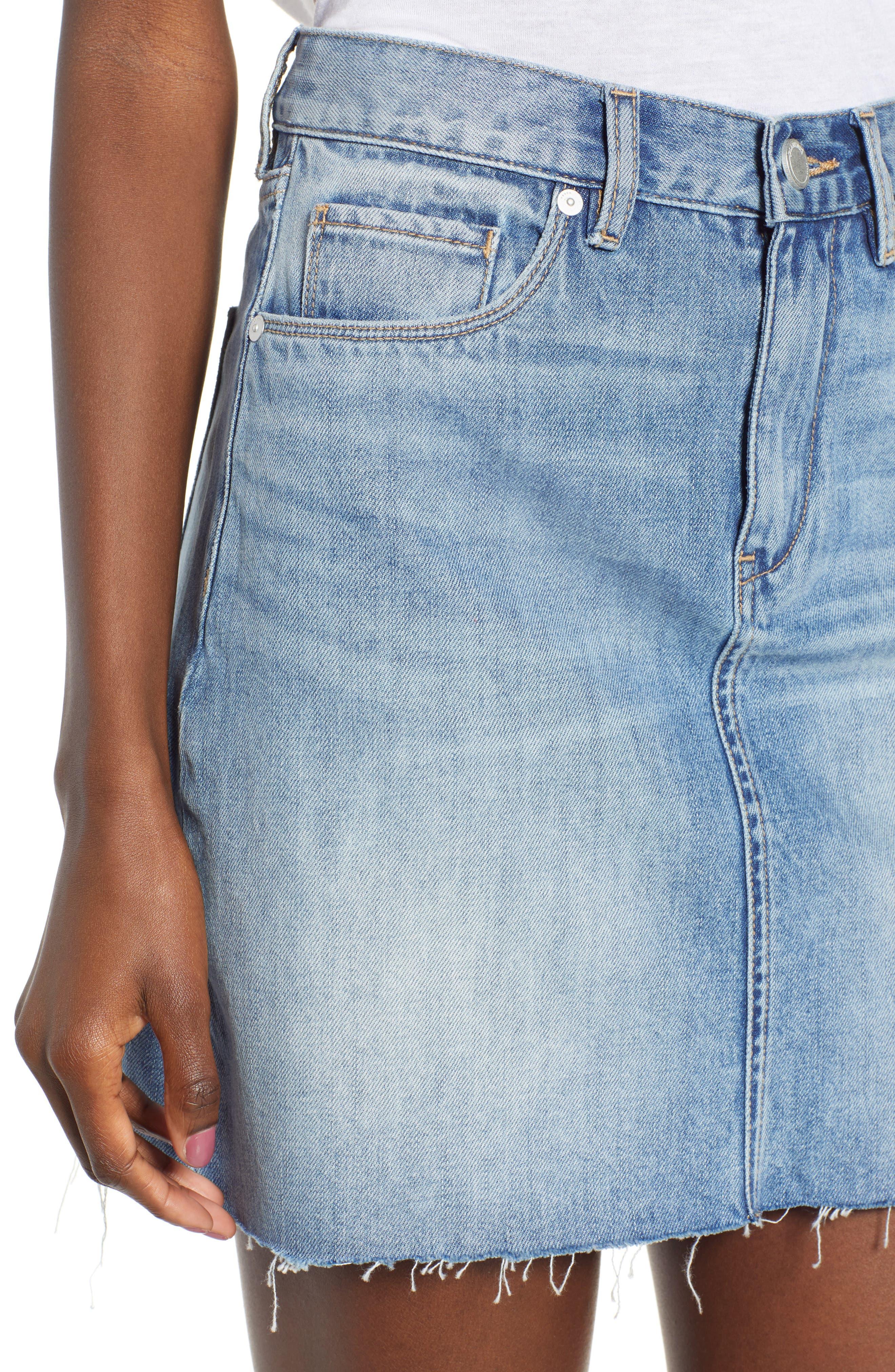 Raw Hem Denim Skirt,                             Alternate thumbnail 4, color,                             420