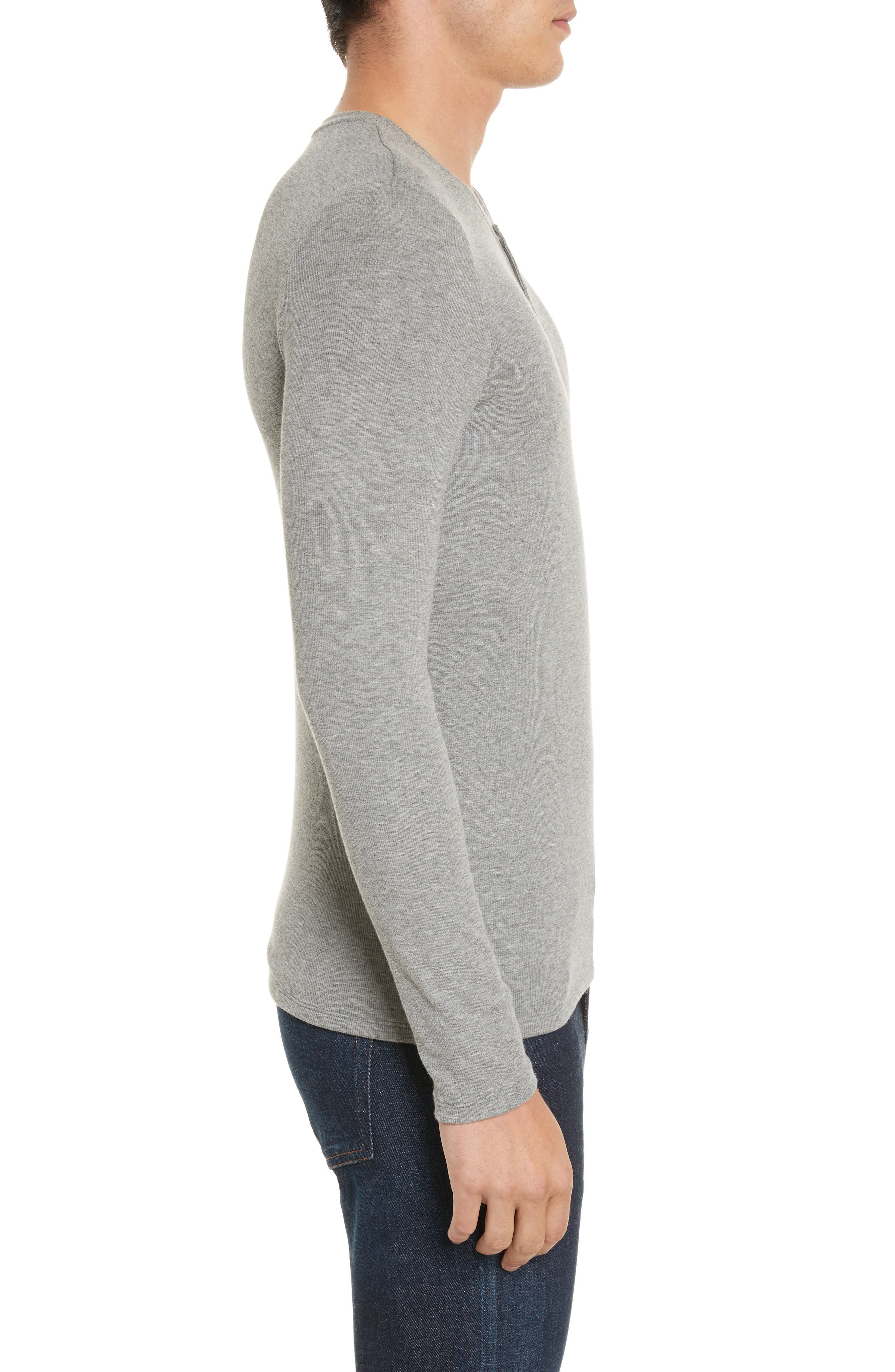 Long Sleeve Rib Henley,                             Alternate thumbnail 3, color,                             050