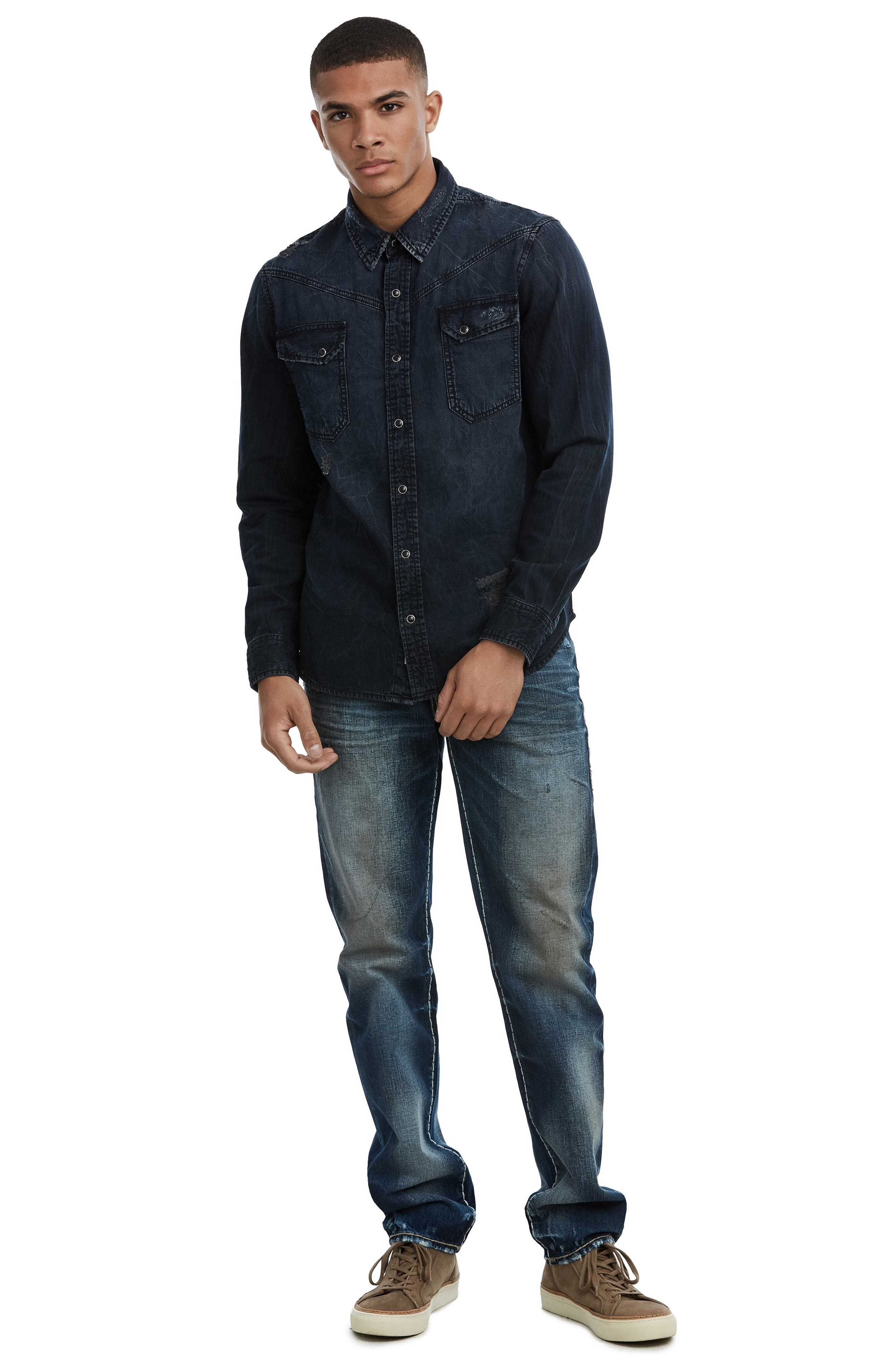 Carter Distressed Denim Shirt,                             Alternate thumbnail 3, color,                             INDIGO RIVAL