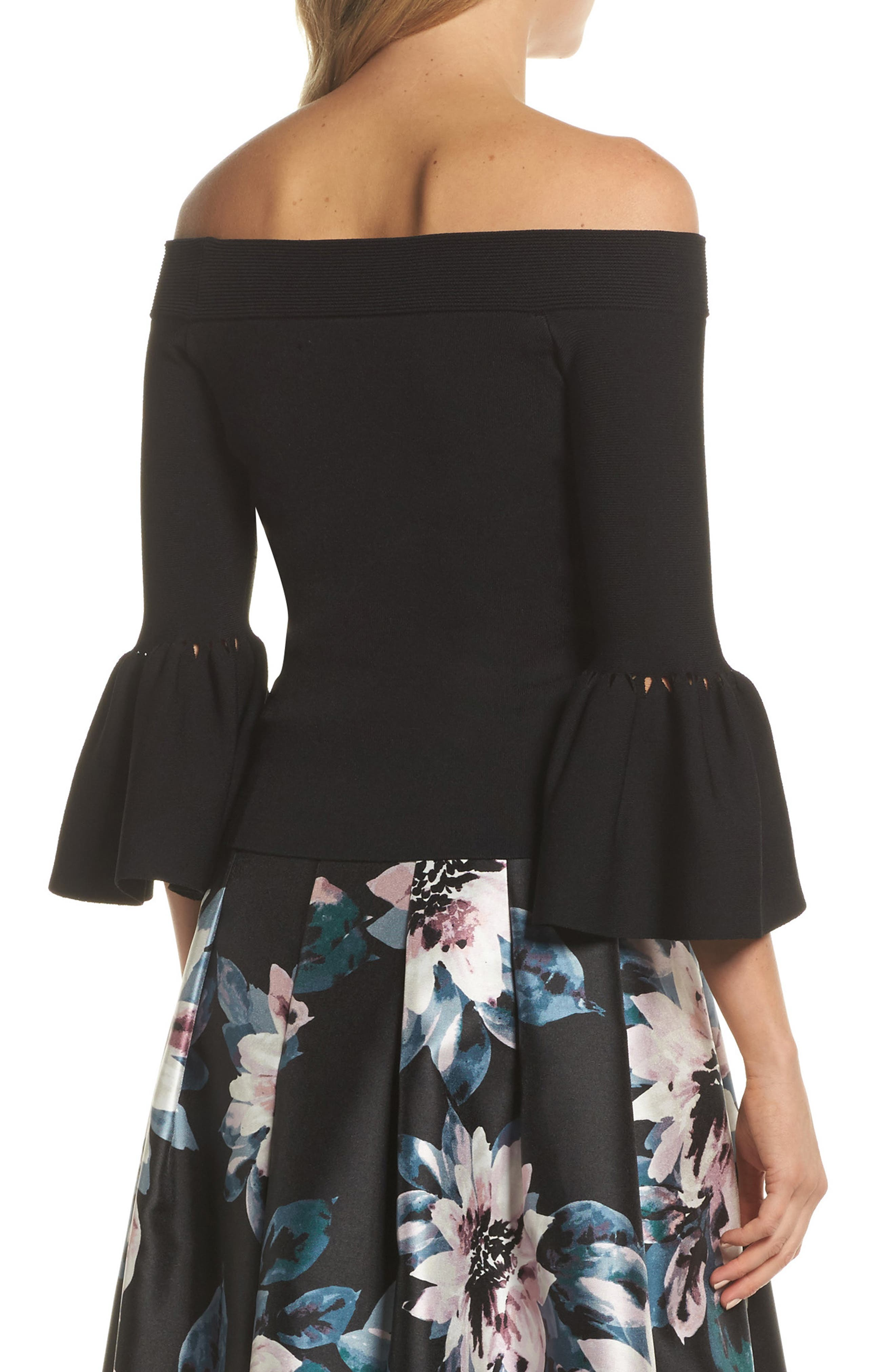Off the Shoulder Bell Sleeve Top,                             Alternate thumbnail 3, color,