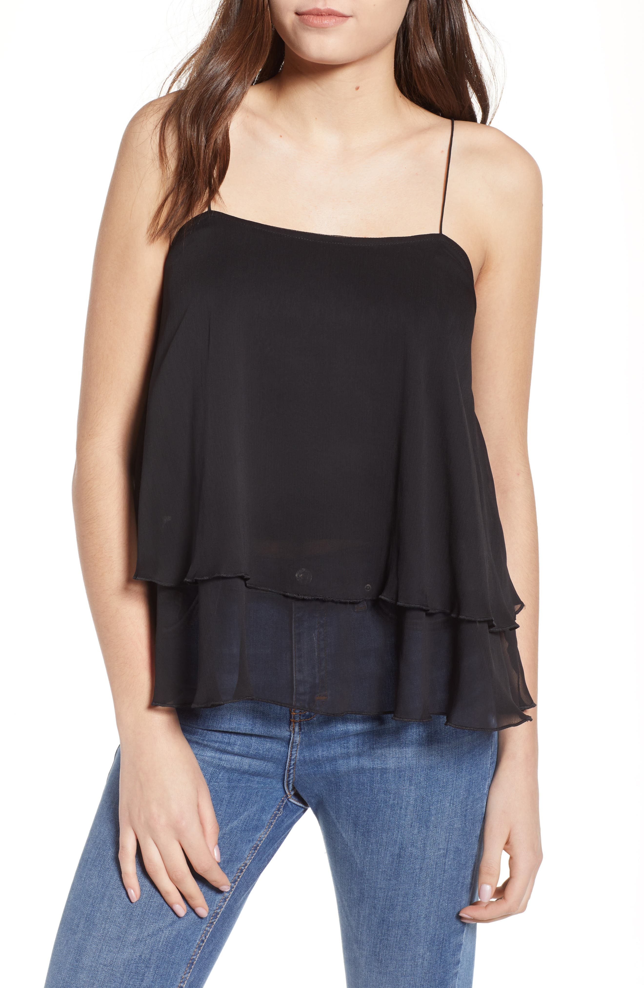 Tiered Chiffon Camisole,                             Main thumbnail 1, color,