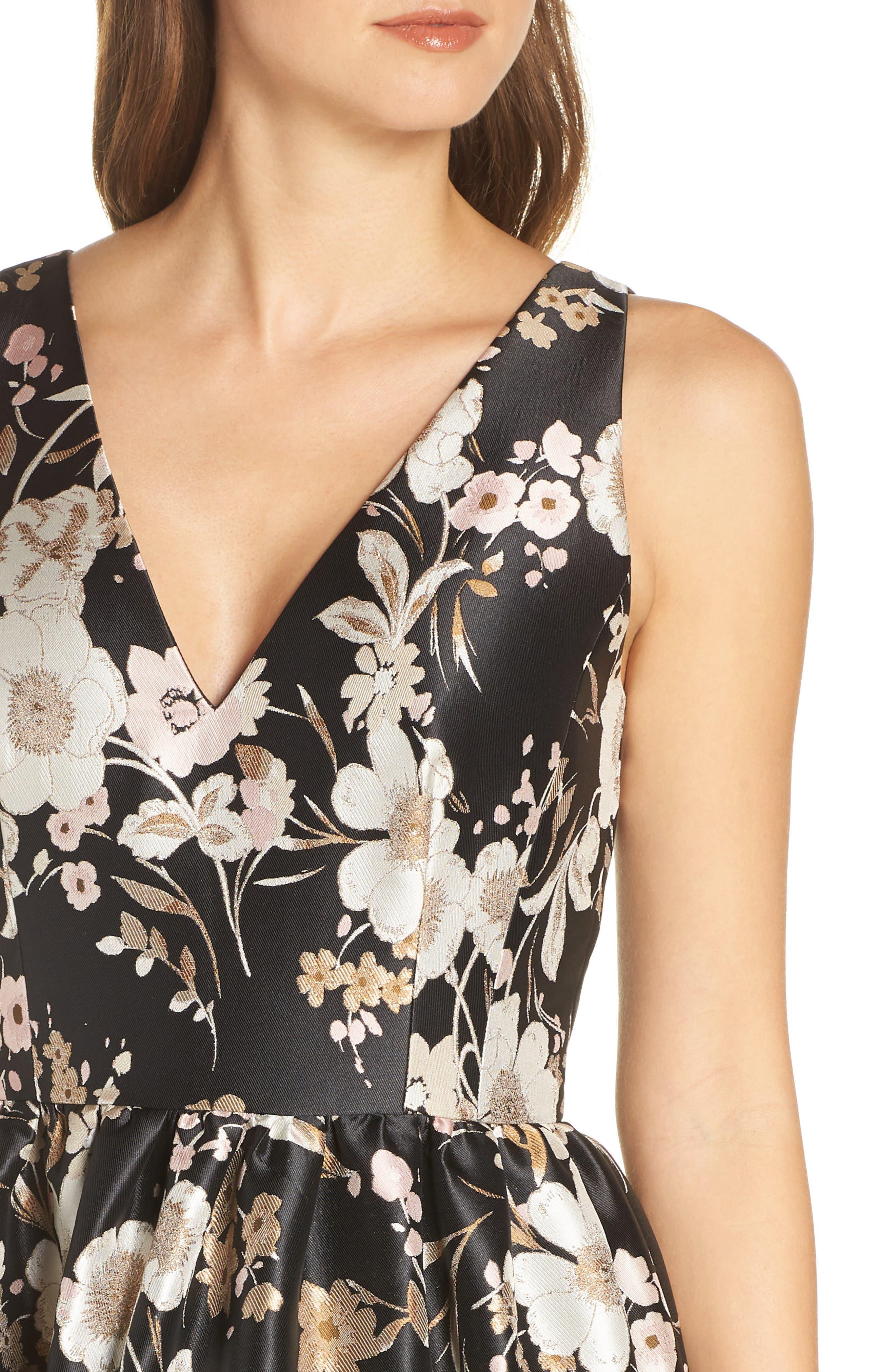 ELIZA J,                             Floral Jacquard Fit & Flare Dress,                             Alternate thumbnail 5, color,                             BLACK WHITE
