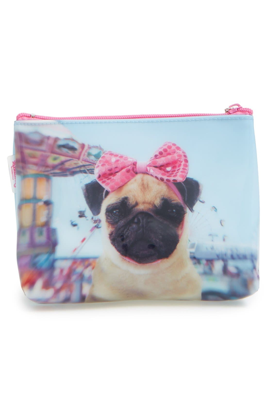 CATSEYE LONDON,                             Small Carnival Pug Cosmetics Bag,                             Alternate thumbnail 4, color,                             400