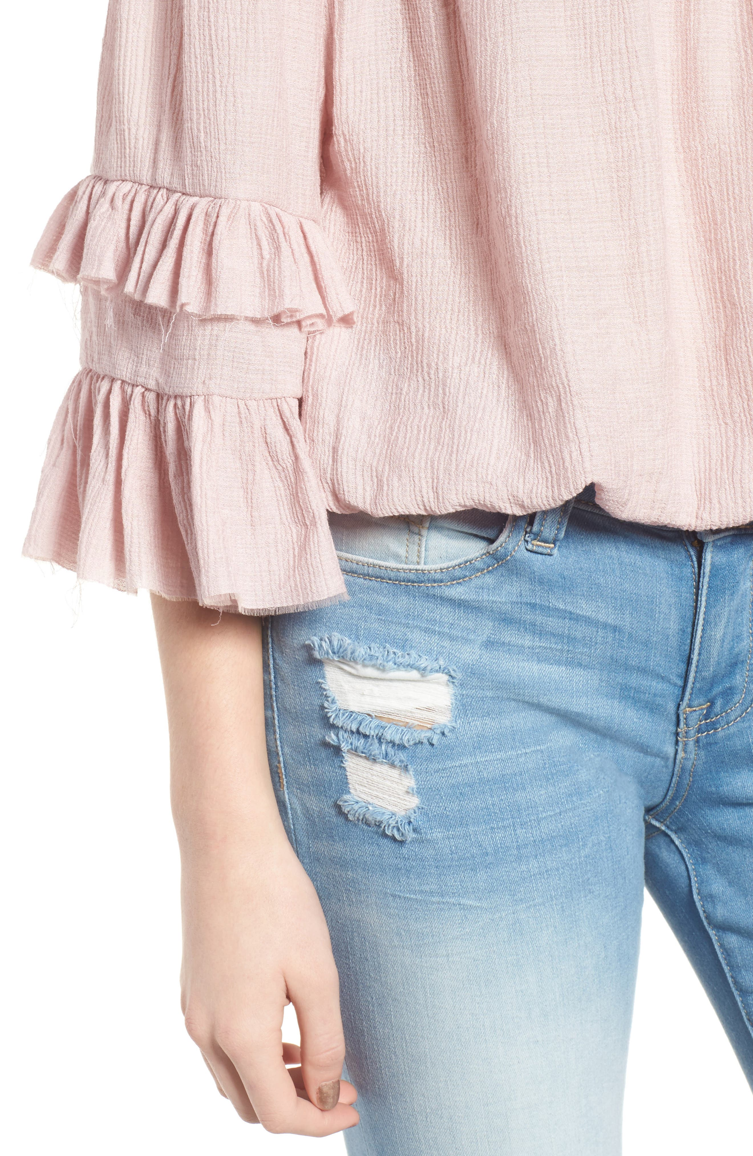 Know One Cares Tiered Off the Shoulder Top,                             Alternate thumbnail 4, color,