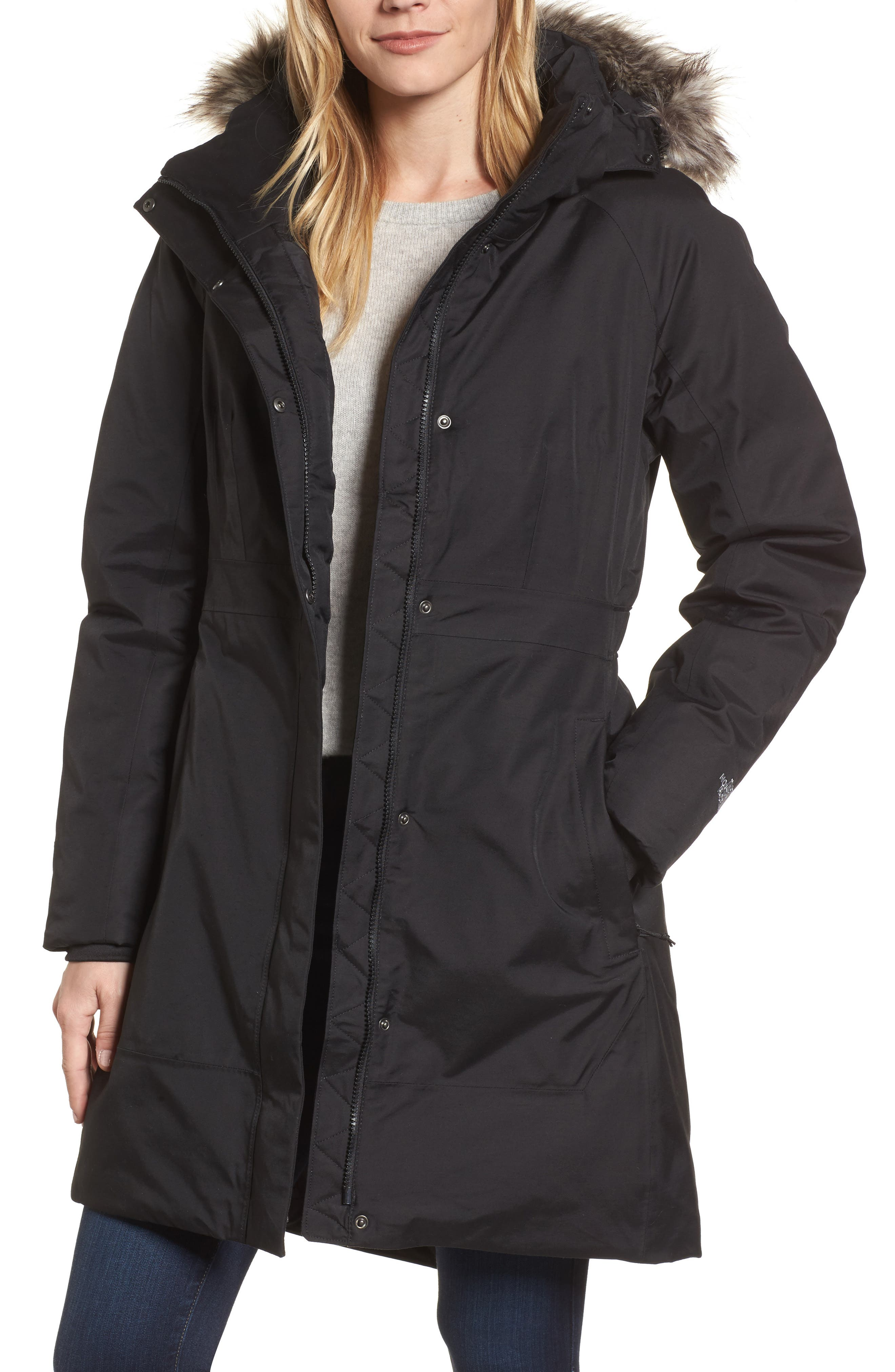 Arctic II Waterproof 550-Fill-Power Down Parka with Faux Fur Trim,                         Main,                         color, TNF BLACK