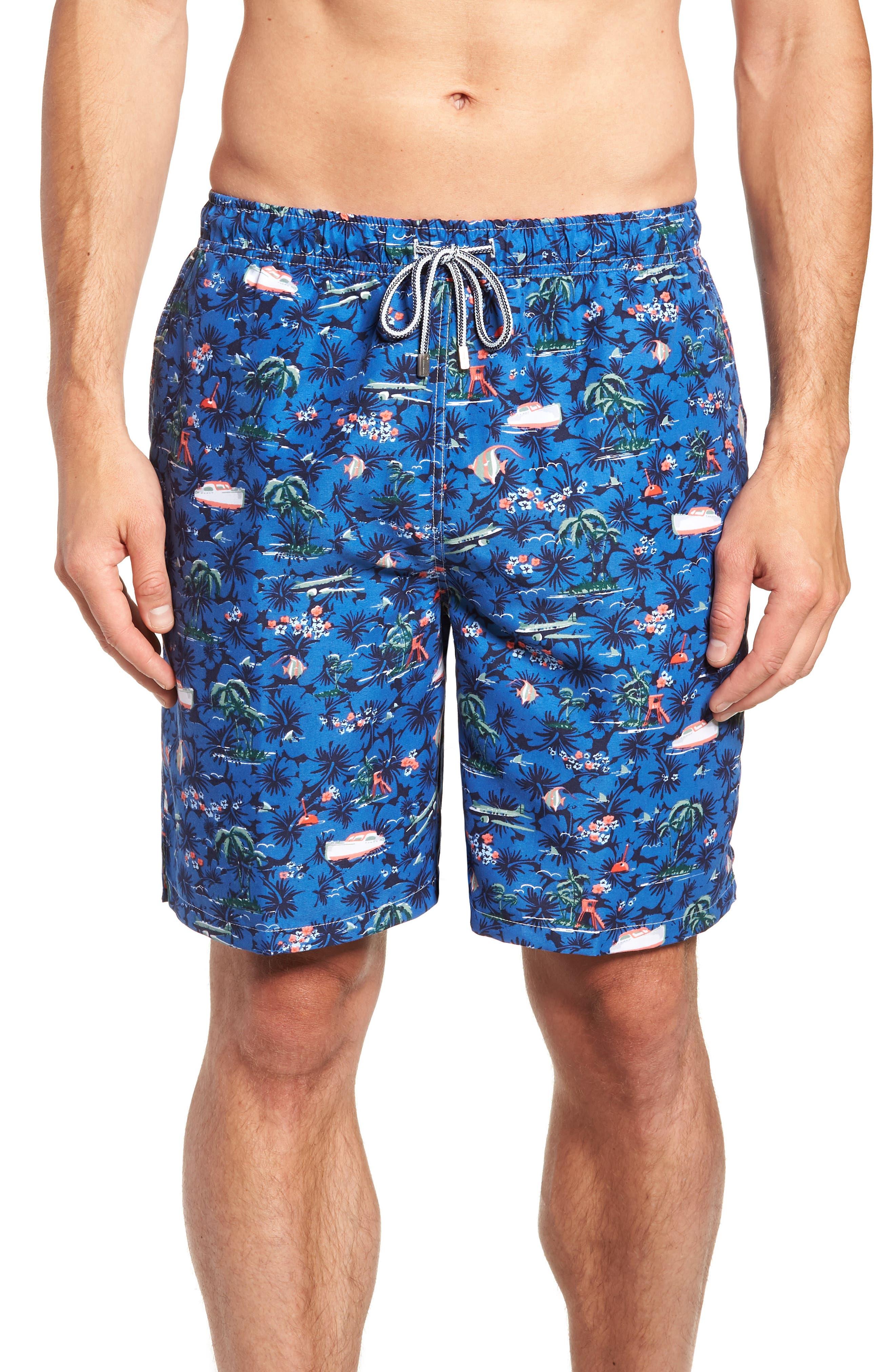 Hawaiian Express Swim Trunks,                             Main thumbnail 1, color,                             BLUE