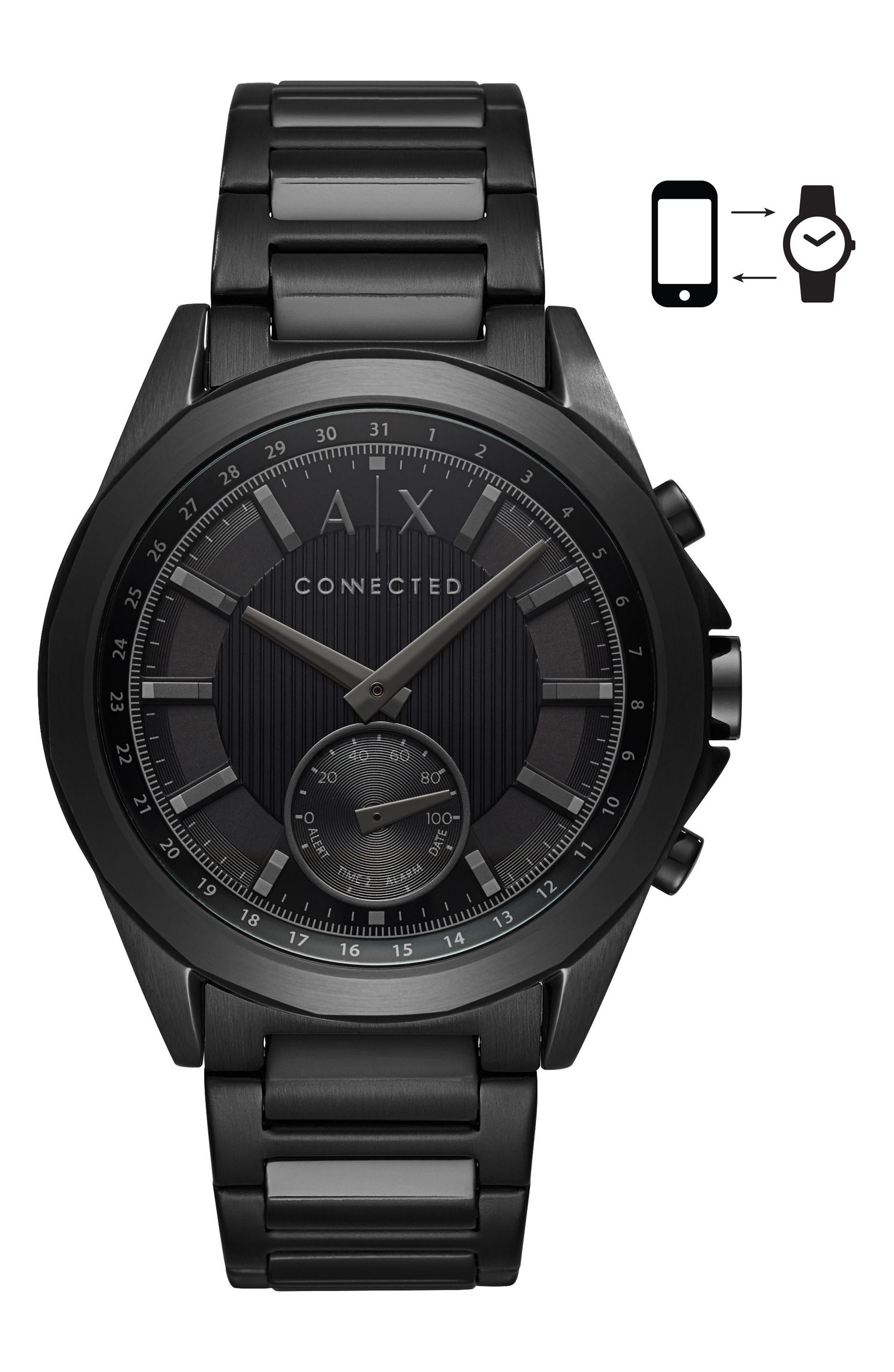 Connected Bracelet Hybrid Smartwatch, 44mm,                             Main thumbnail 1, color,                             BLACK/ BLACK