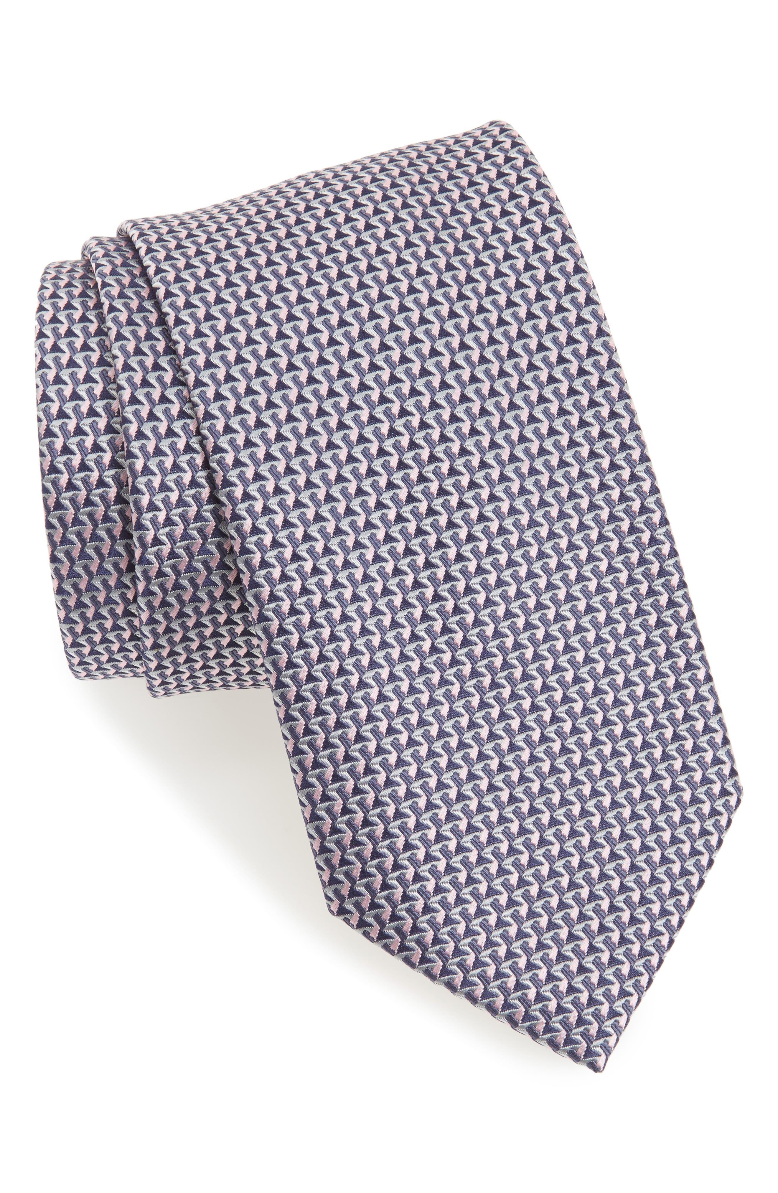 Geometric Silk Tie,                         Main,                         color, 070