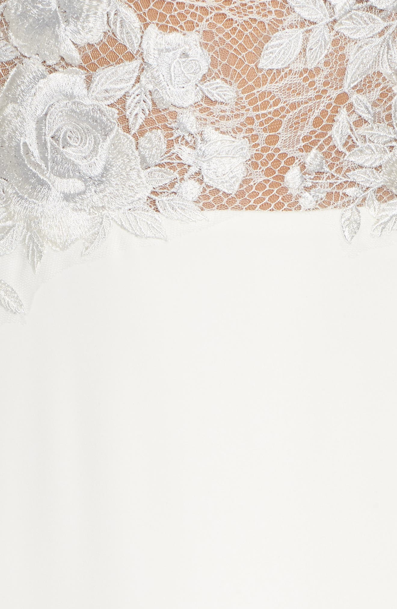 Floral Mesh Top Trumpet Gown,                             Alternate thumbnail 5, color,                             900