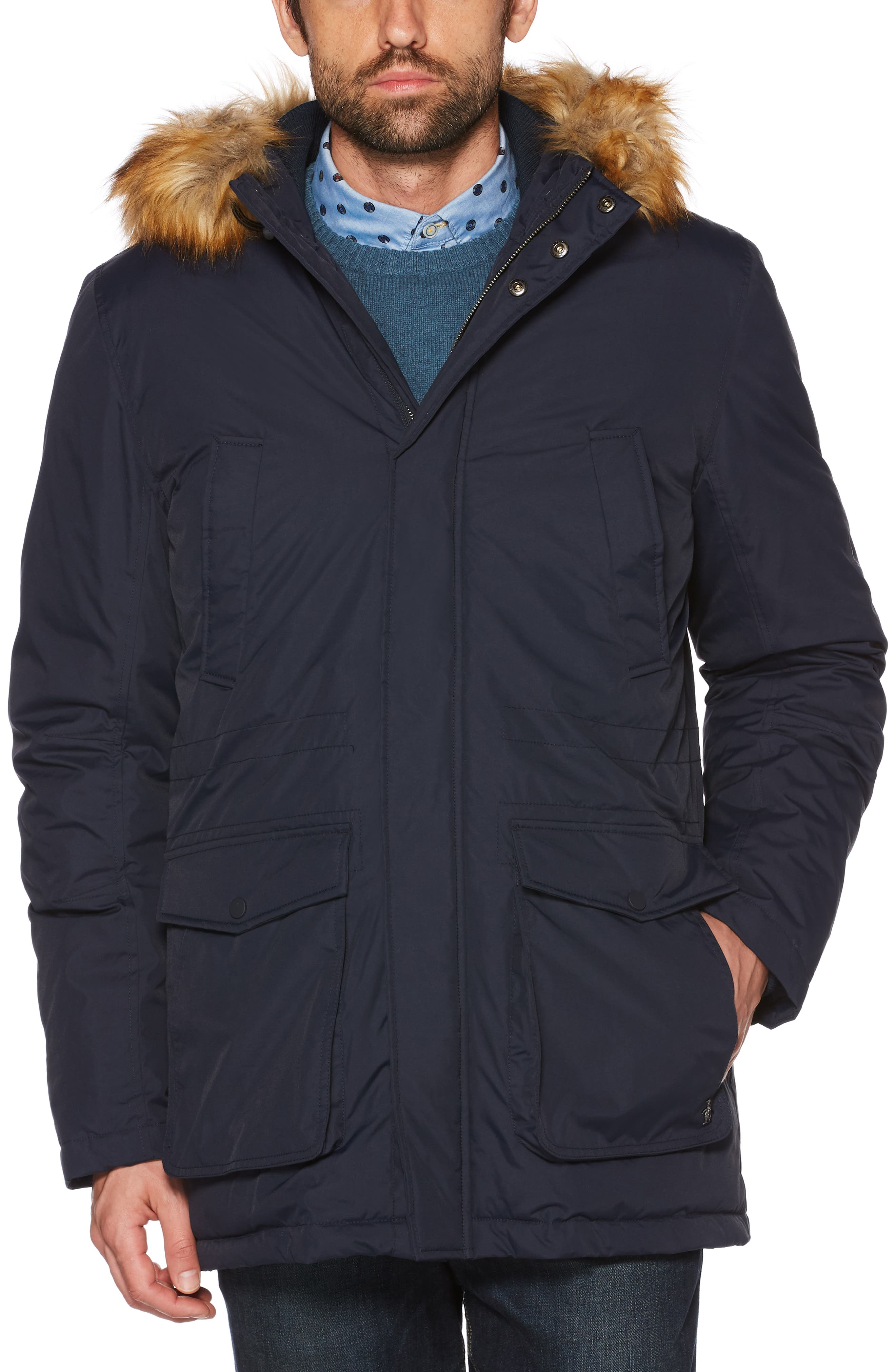 Insulated Parka with Faux Fur Trim,                         Main,                         color, DARK SAPPHIRE