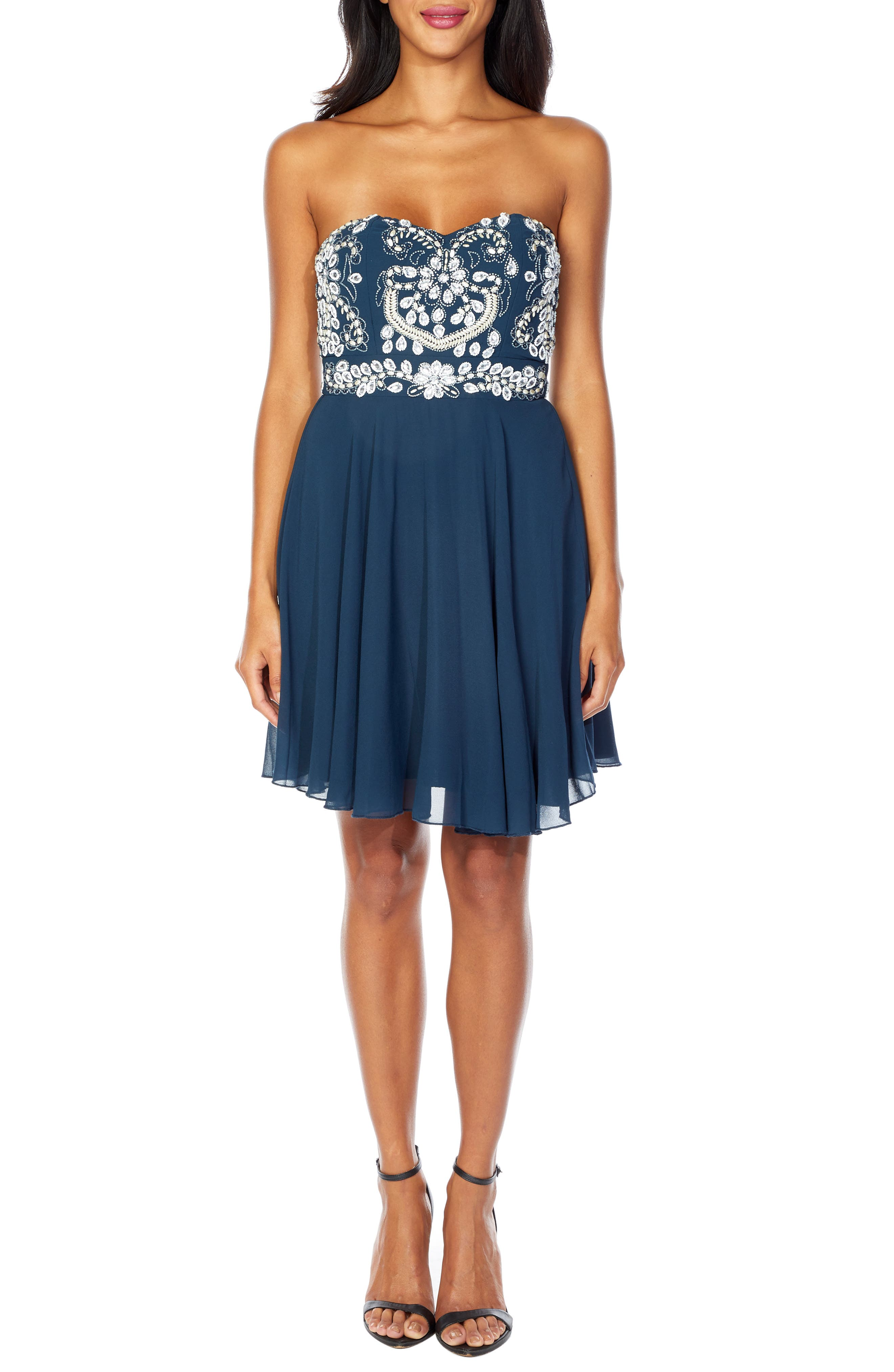 Amelia Strapless Fit & Flare Dress,                             Main thumbnail 1, color,                             NAVY