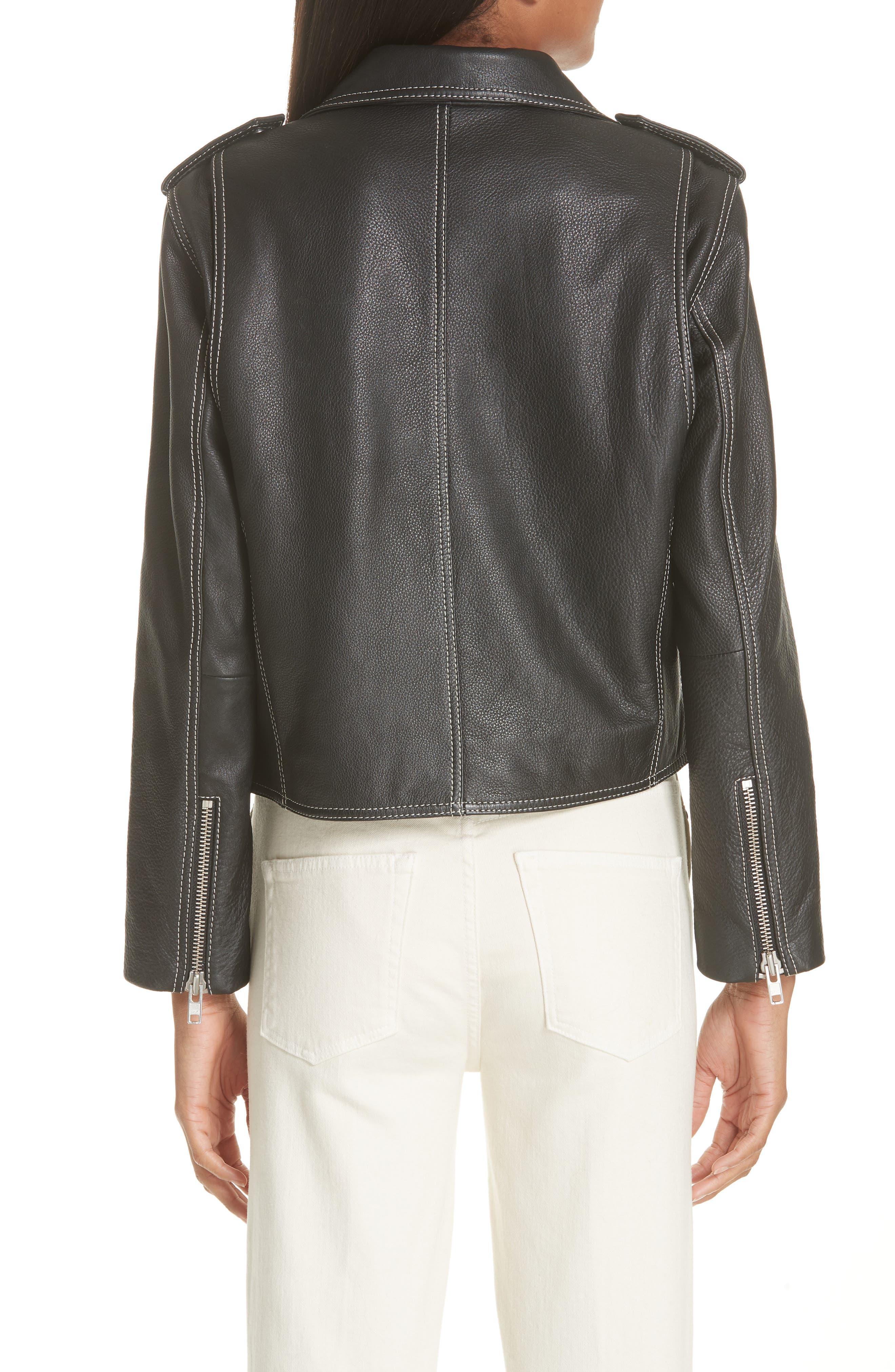 GANNI,                             Angela Leather Jacket,                             Alternate thumbnail 2, color,                             099