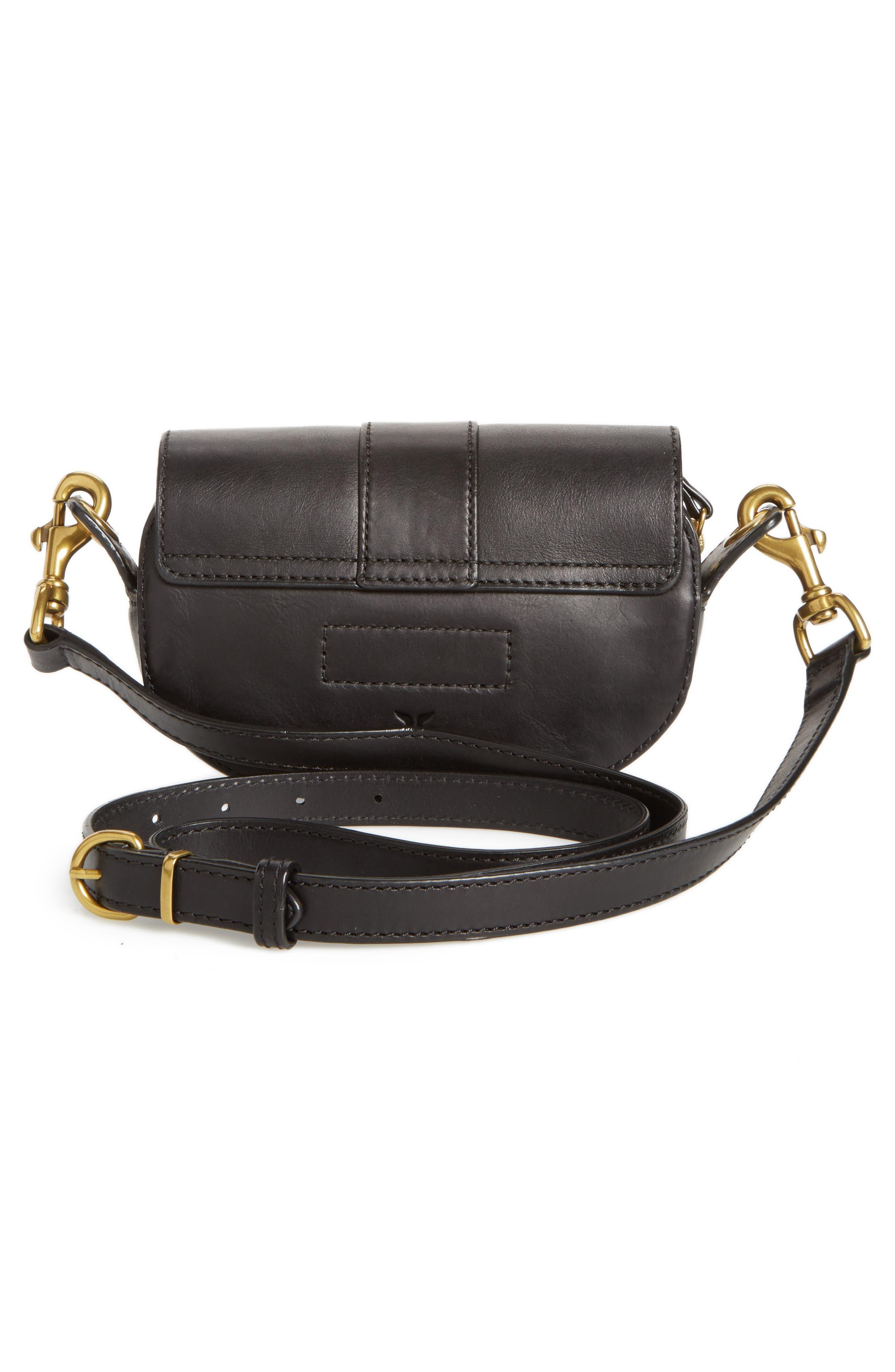 Mini Ilana Harness Leather Saddle Bag,                             Alternate thumbnail 3, color,                             001