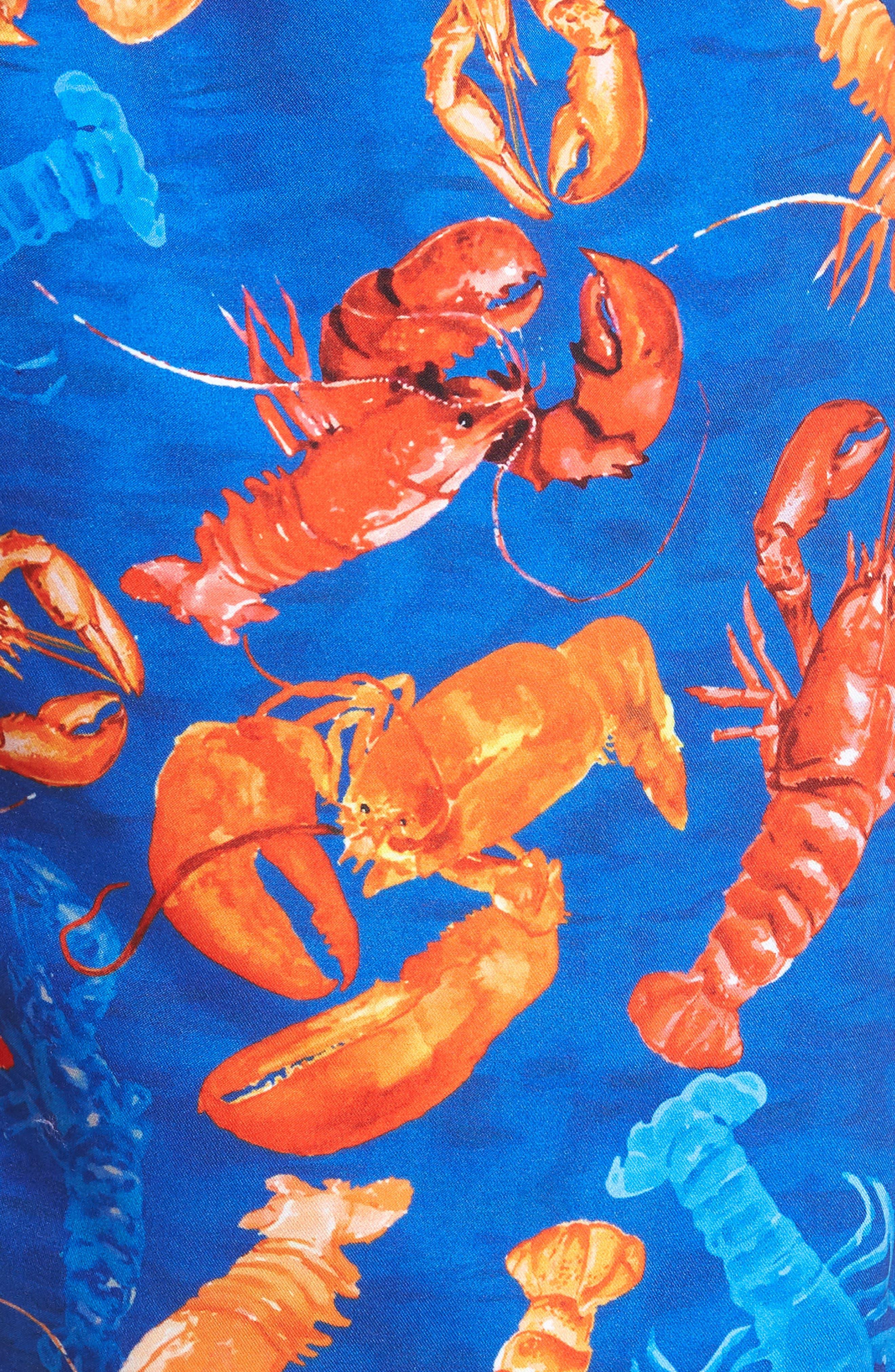 BOSS,                             Piranha Lobster Swim Trunks,                             Alternate thumbnail 5, color,                             460