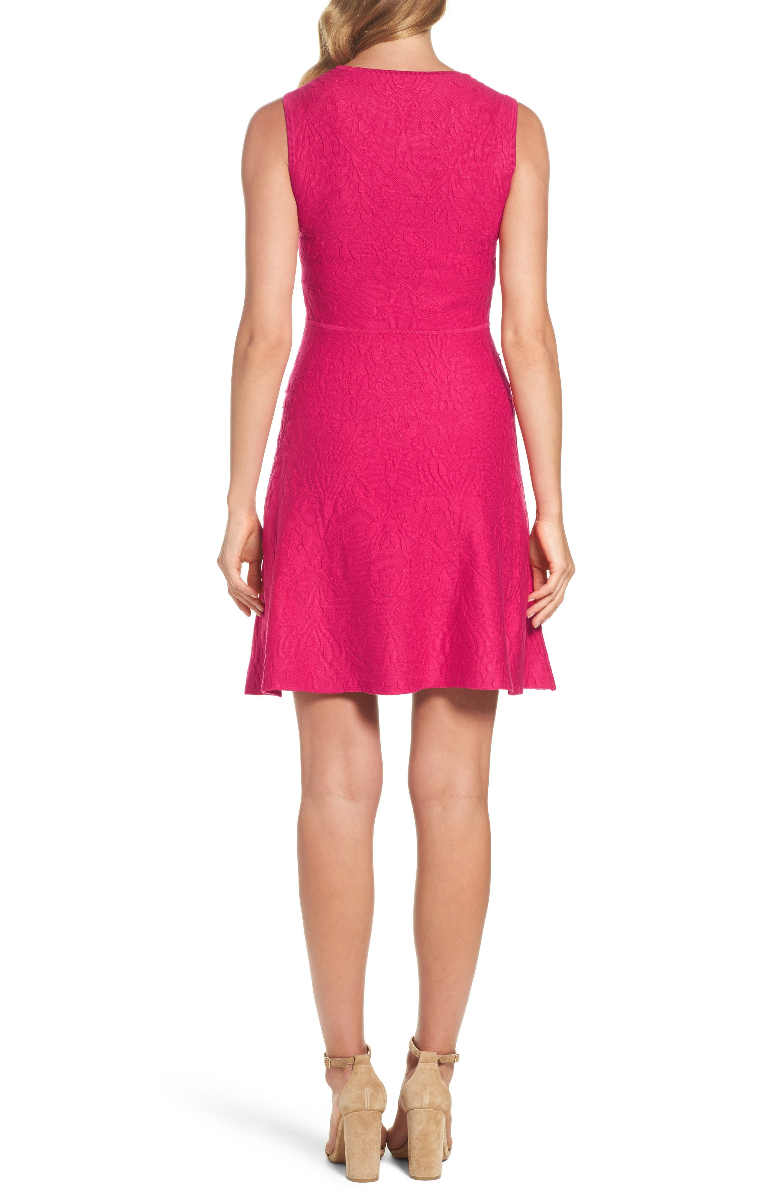 Texture Knit Fit & Flare Dress,                             Alternate thumbnail 2, color,                             660