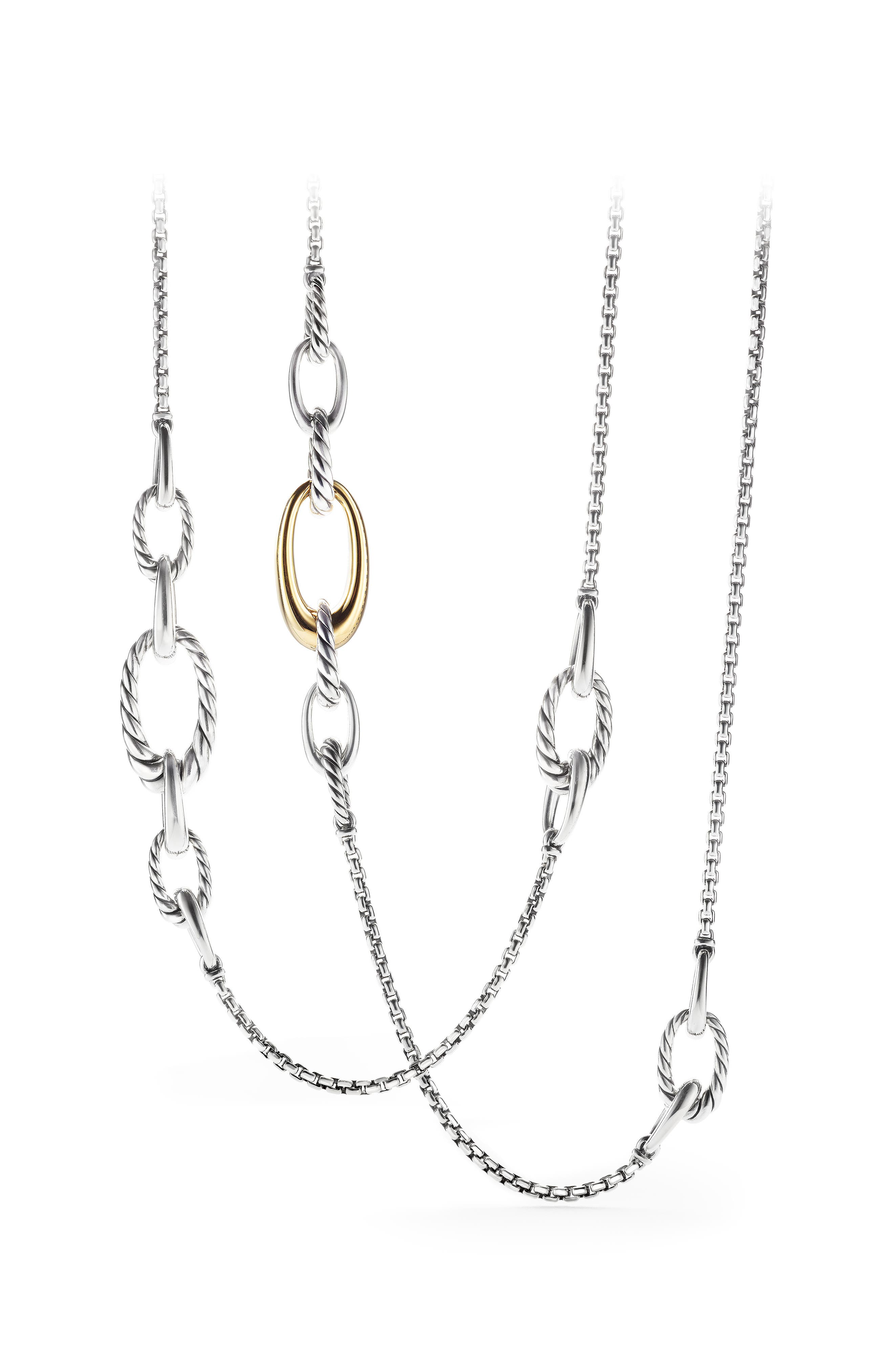 Pure Form Graduated Chain Station Necklace,                             Alternate thumbnail 3, color,                             GOLD/ SILVER