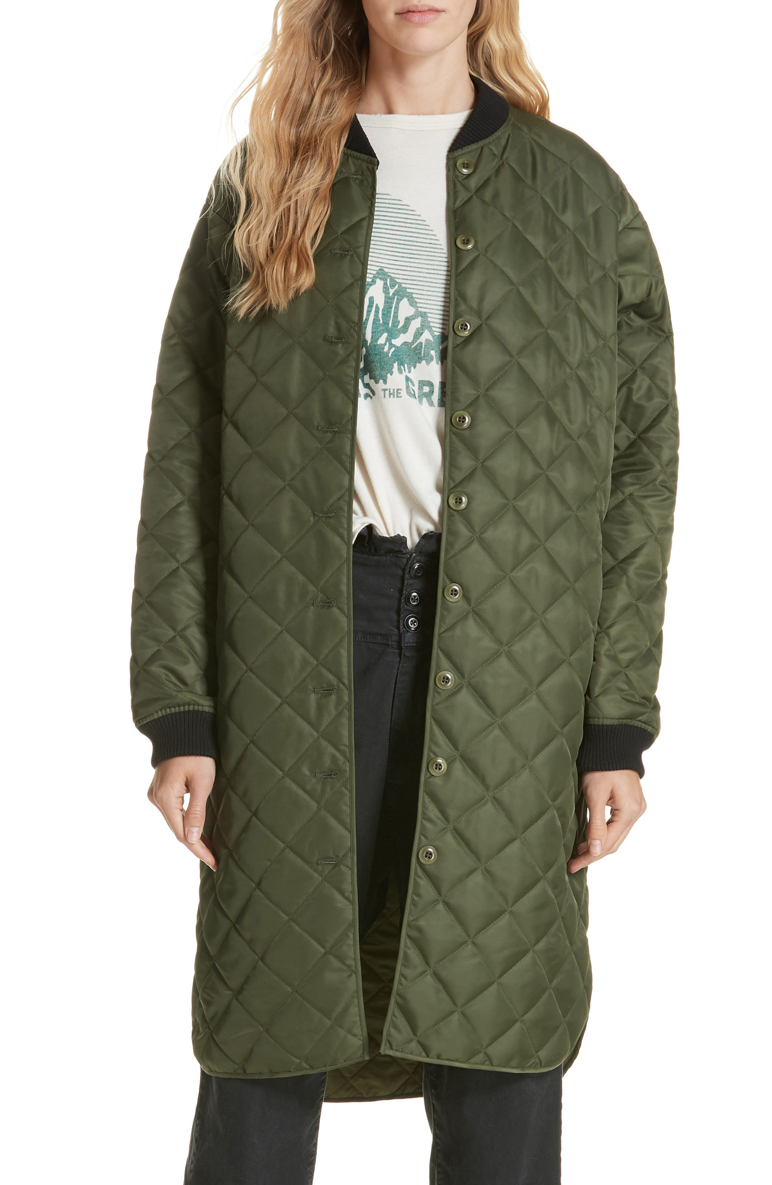 Quilted Long Coat,                         Main,                         color, ARMY