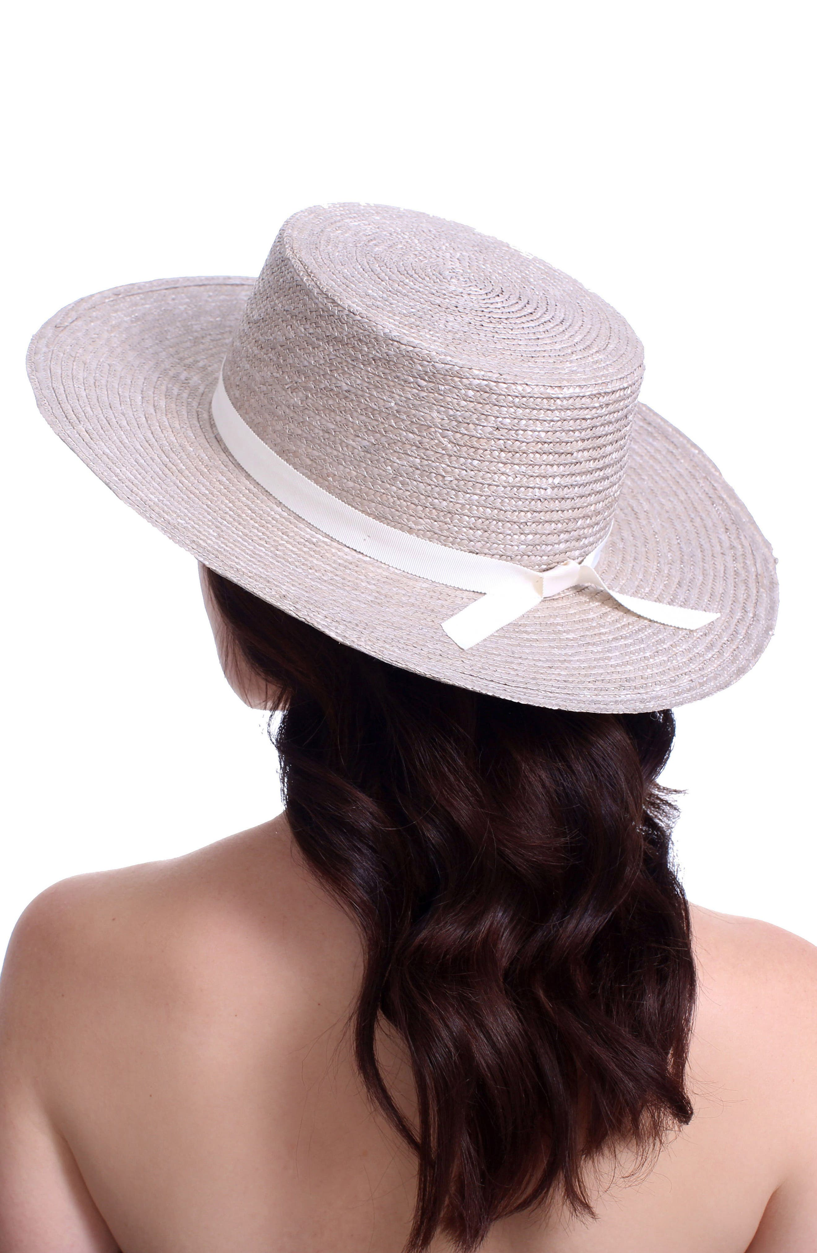 The Highland Straw Boater Hat,                             Alternate thumbnail 2, color,                             SILVER