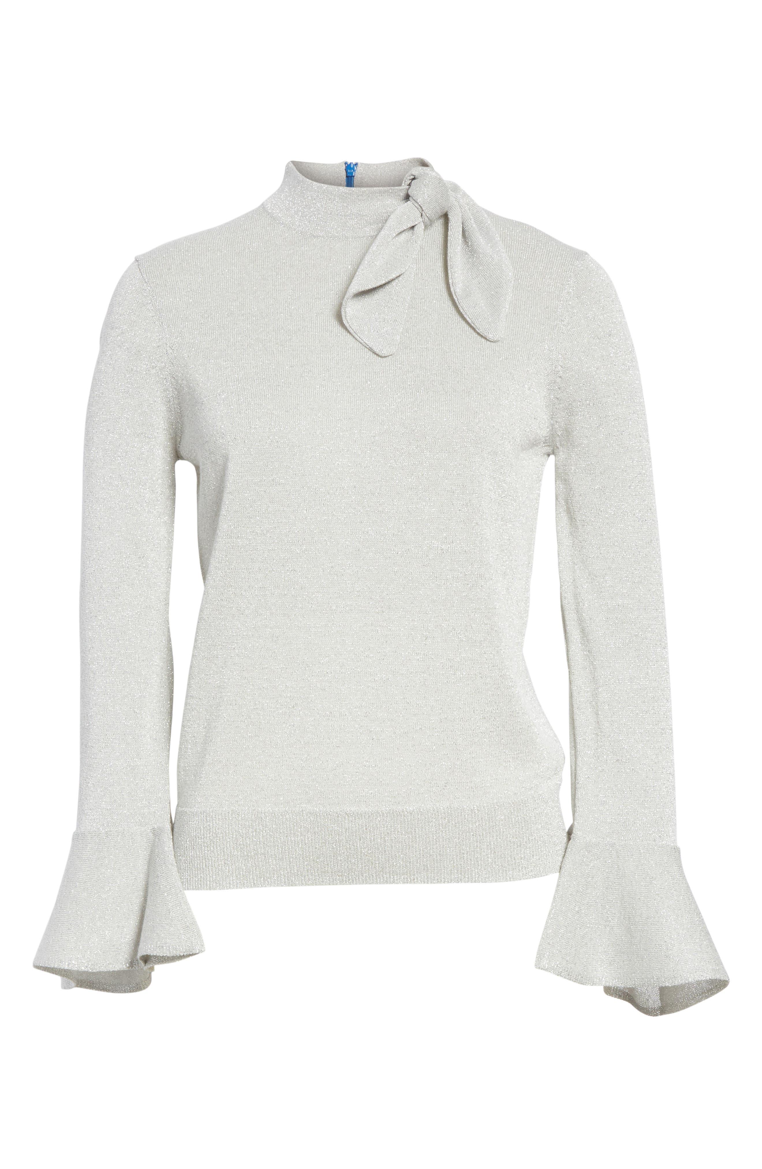 metallic knot sweater,                             Alternate thumbnail 6, color,                             044