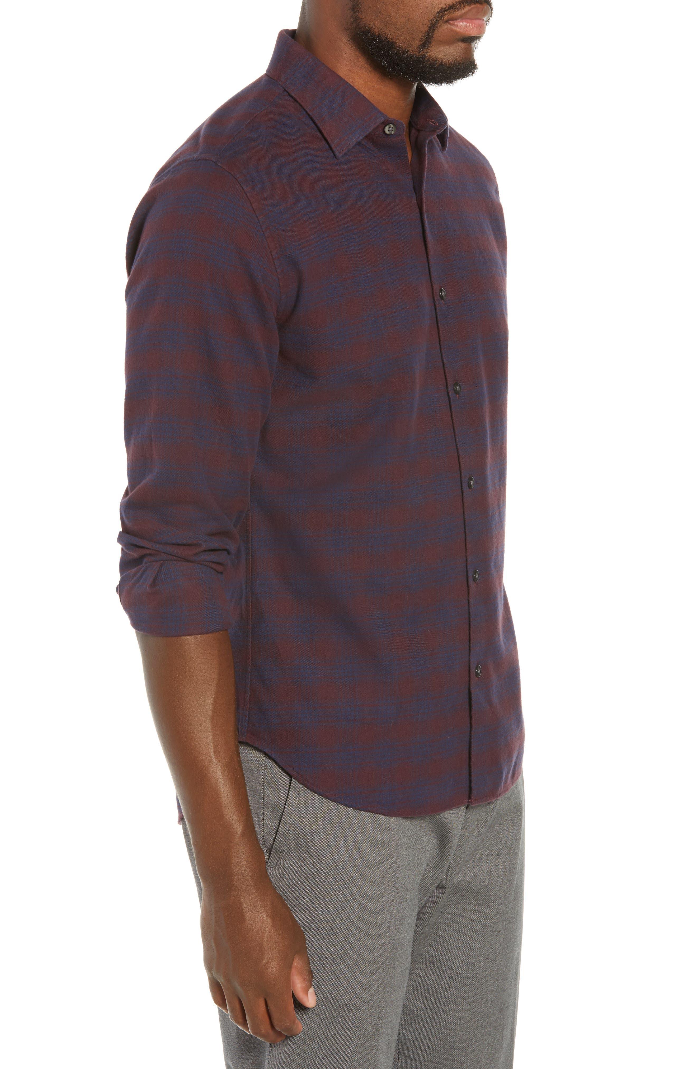 Unbutton Down Slim Fit Check Sport Shirt,                             Alternate thumbnail 4, color,                             ADCROFT CHECK - DAMSON PLUM