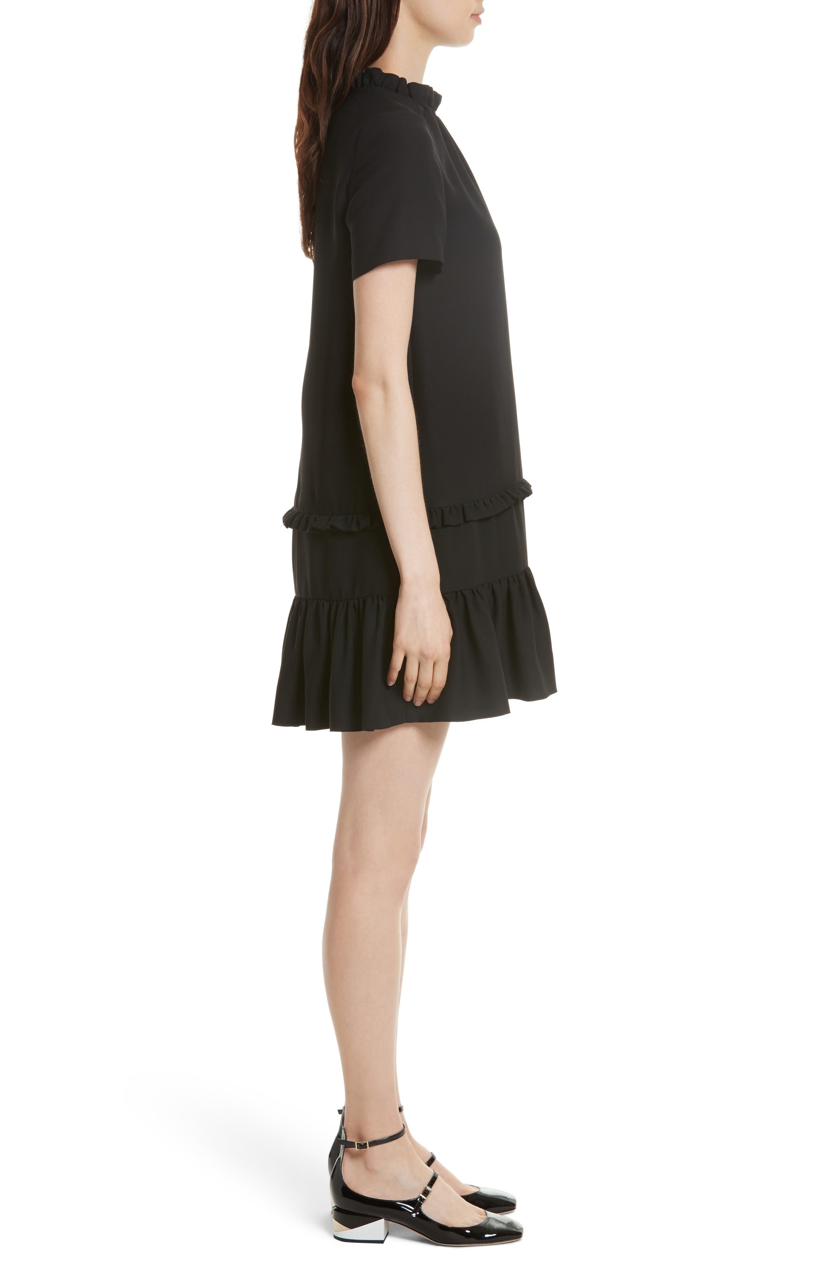ruffle shift dress,                             Alternate thumbnail 3, color,                             001