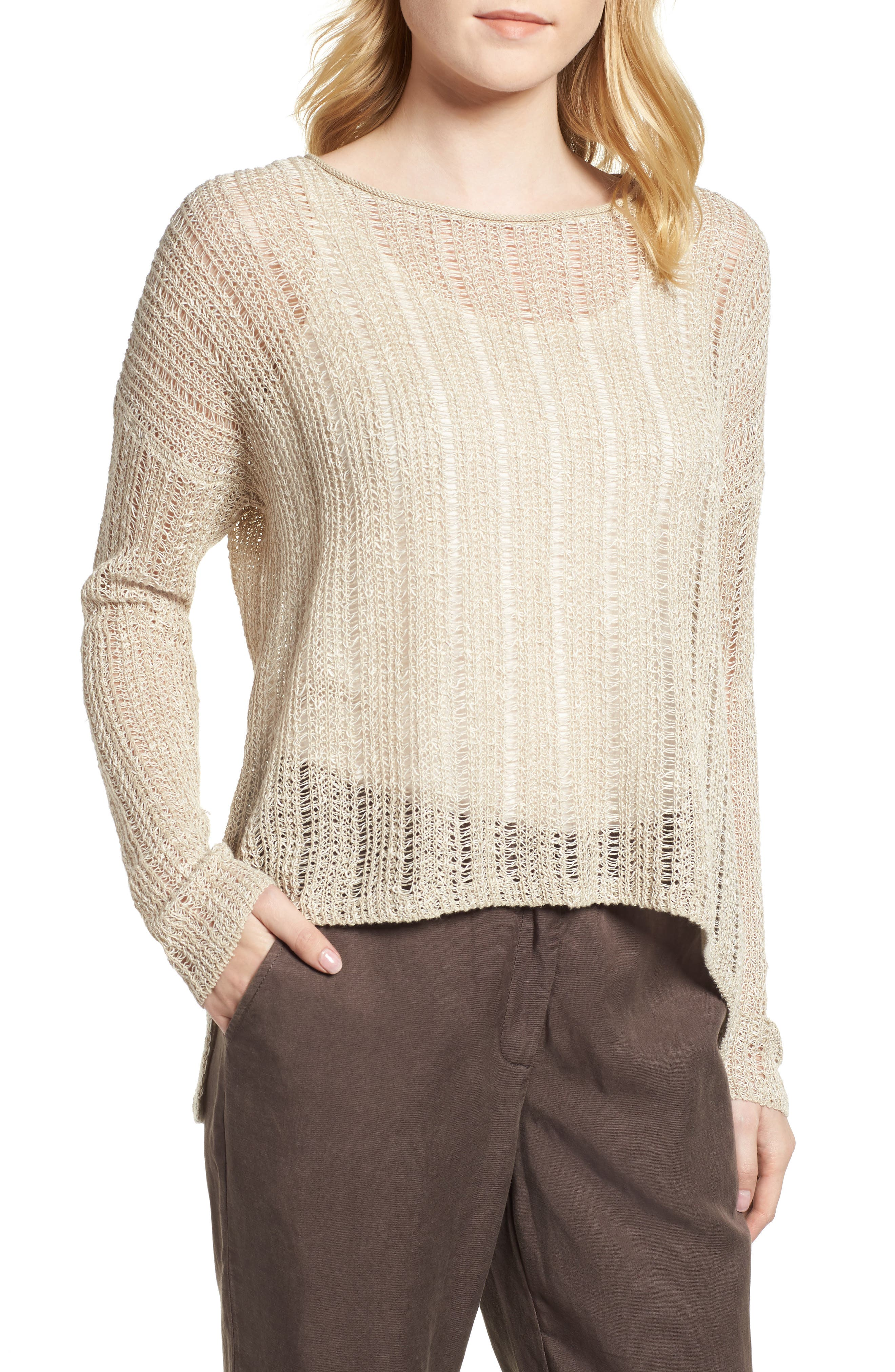 Open Knit Organic Linen Blend Sweater,                             Main thumbnail 2, color,