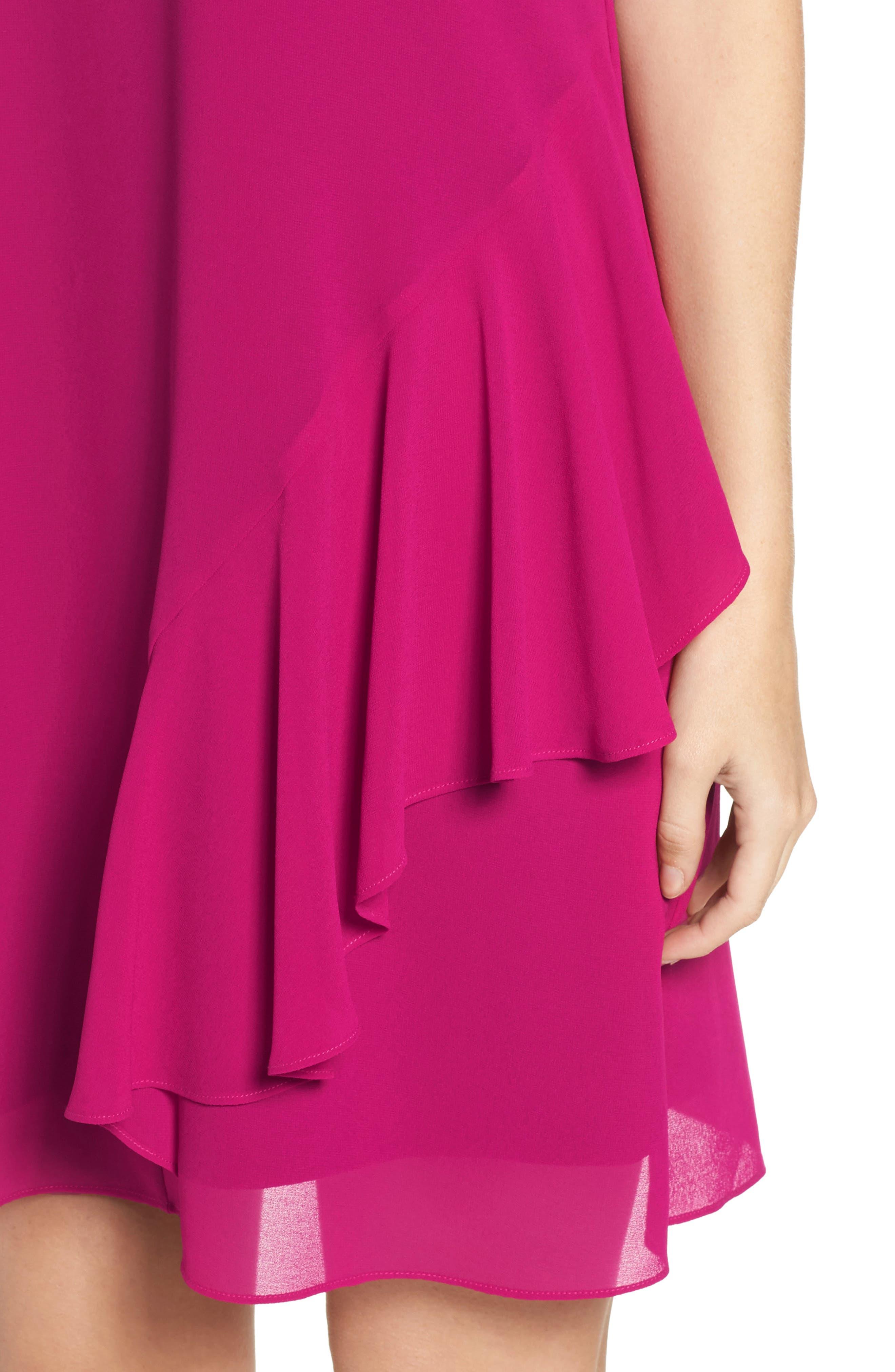 Roll Neck Chiffon Dress,                             Alternate thumbnail 4, color,