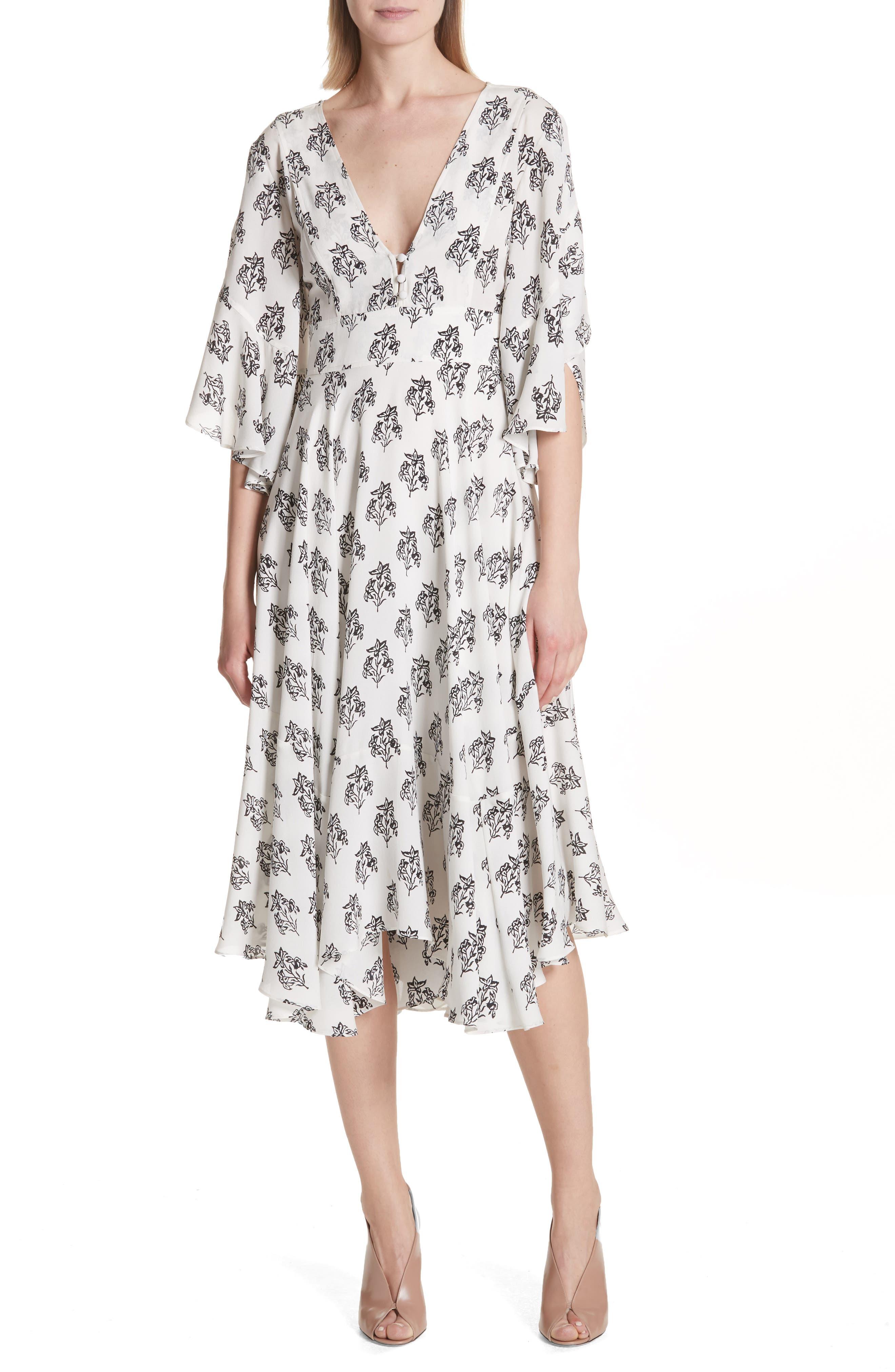 McKenna Print Asymmetrical Silk Dress,                             Main thumbnail 1, color,                             110