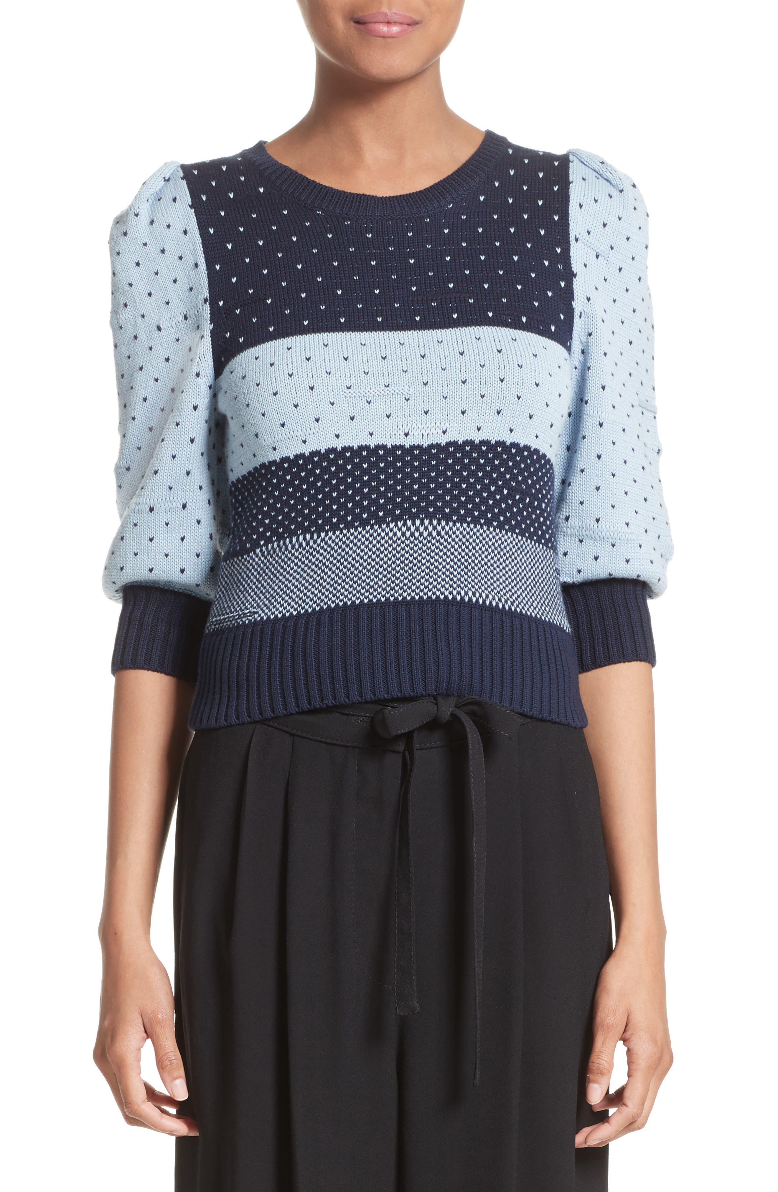 Cotton Jacquard Sweater,                             Main thumbnail 1, color,                             411