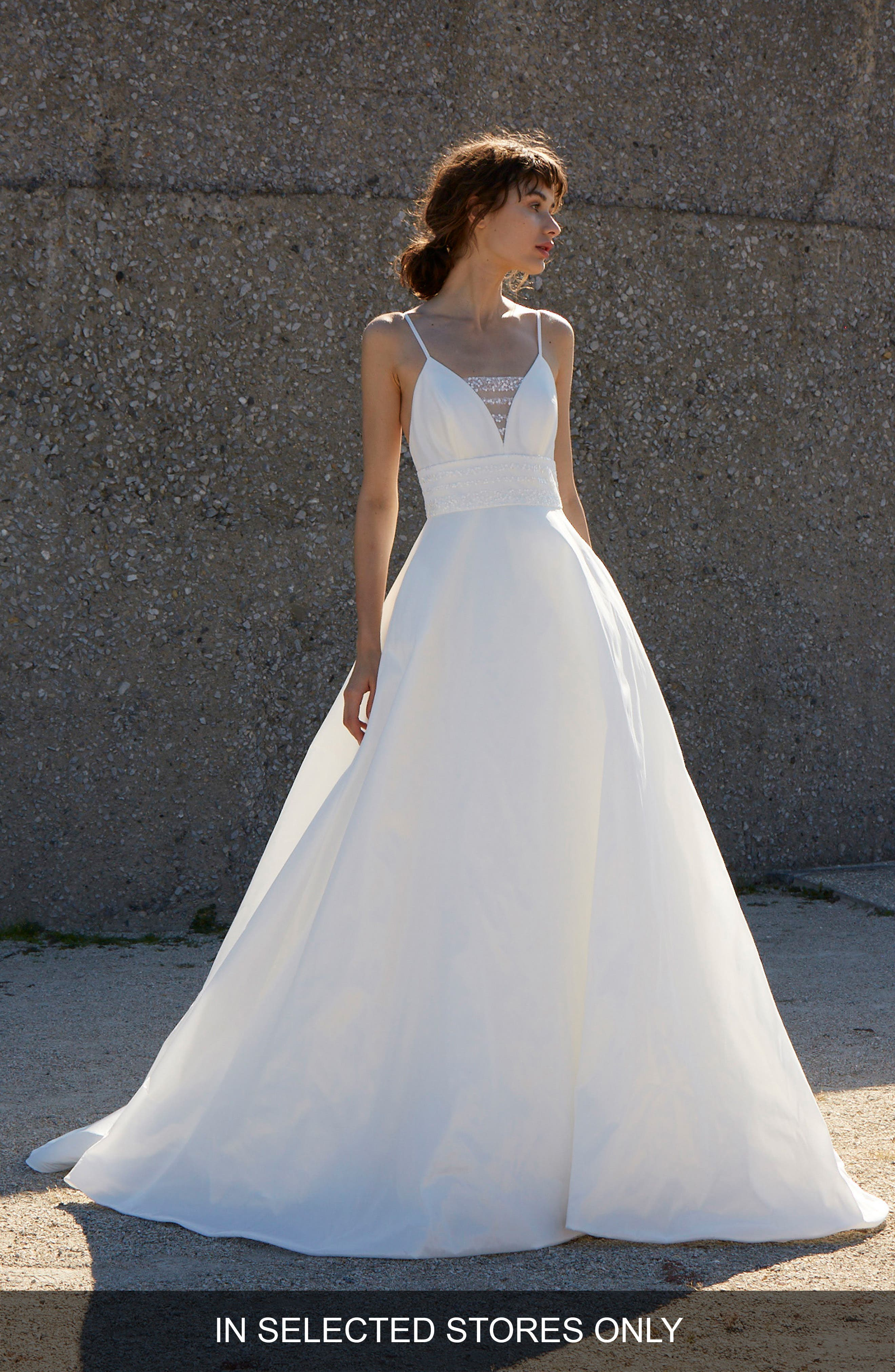 Esther Embellished Ballgown,                         Main,                         color, SILK WHITE