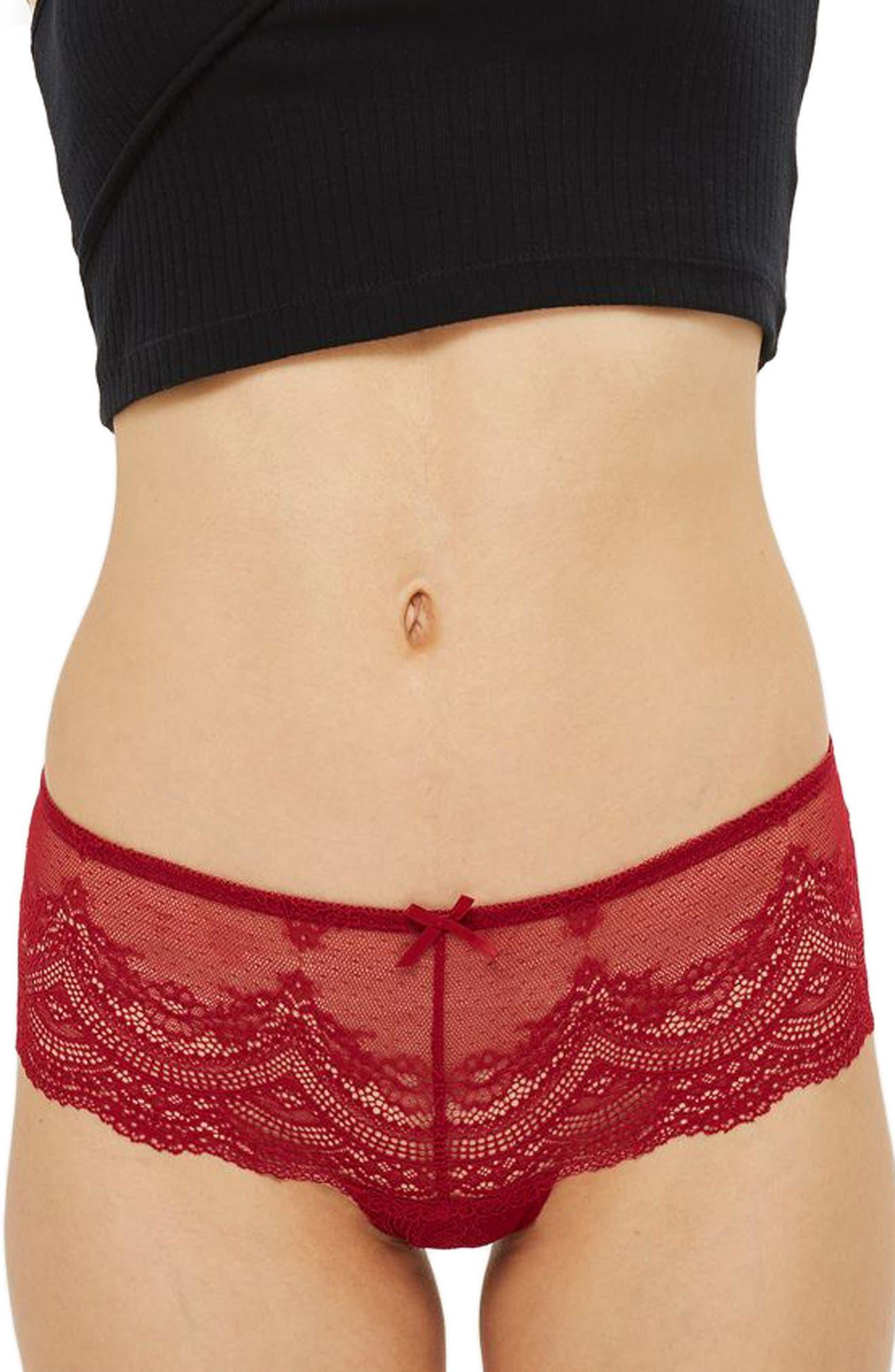 Deep Lace Brazilian Panties,                         Main,                         color, ROUGE