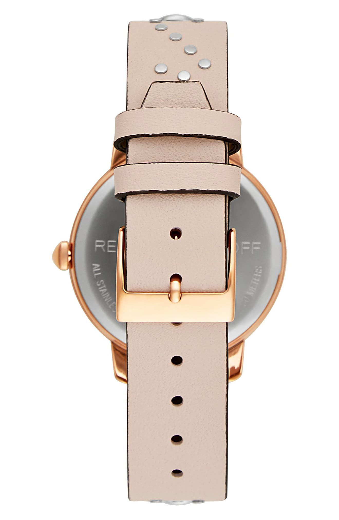 BFFL Studded Leather Strap Watch, 36mm,                             Alternate thumbnail 2, color,                             BLUSH/ SILVER/ ROSE GOLD