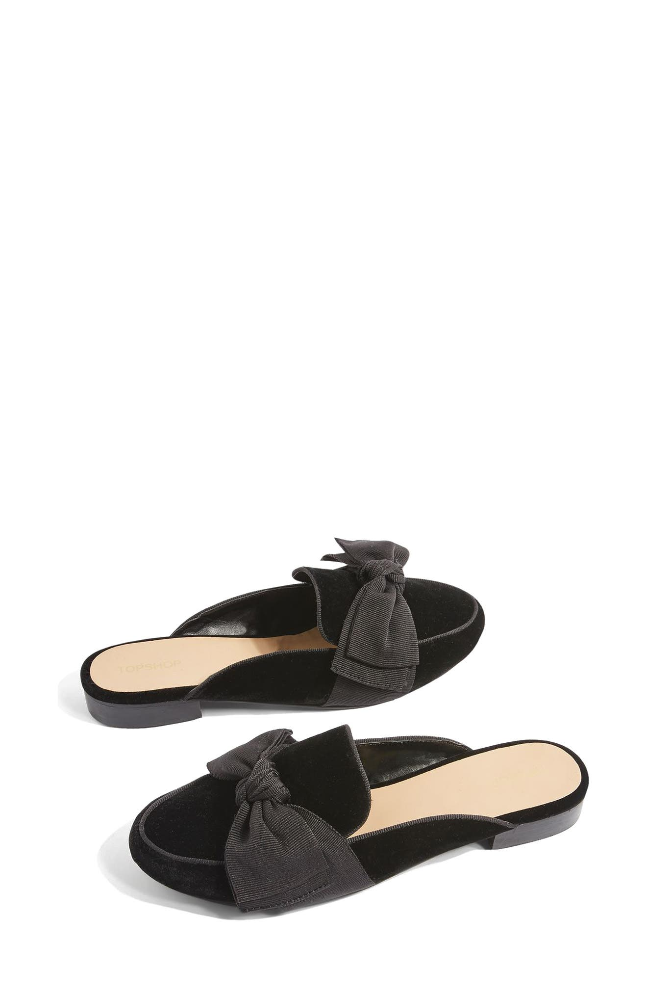 Luna Bow Detail Backless Loafers,                             Alternate thumbnail 3, color,                             001