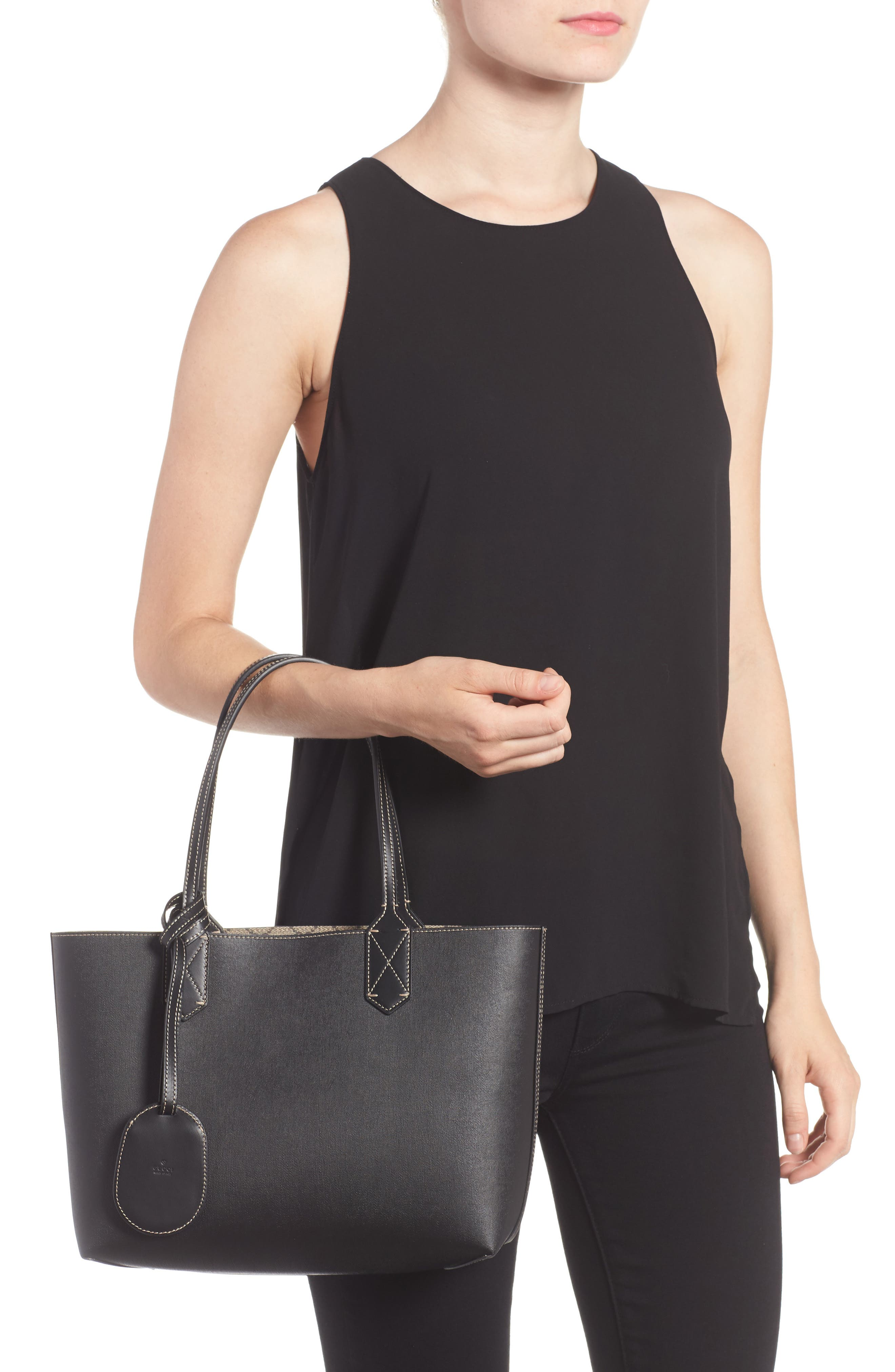Small Turnaround Reversible Leather Tote,                             Alternate thumbnail 2, color,                             BEIGE EBONY/BLK