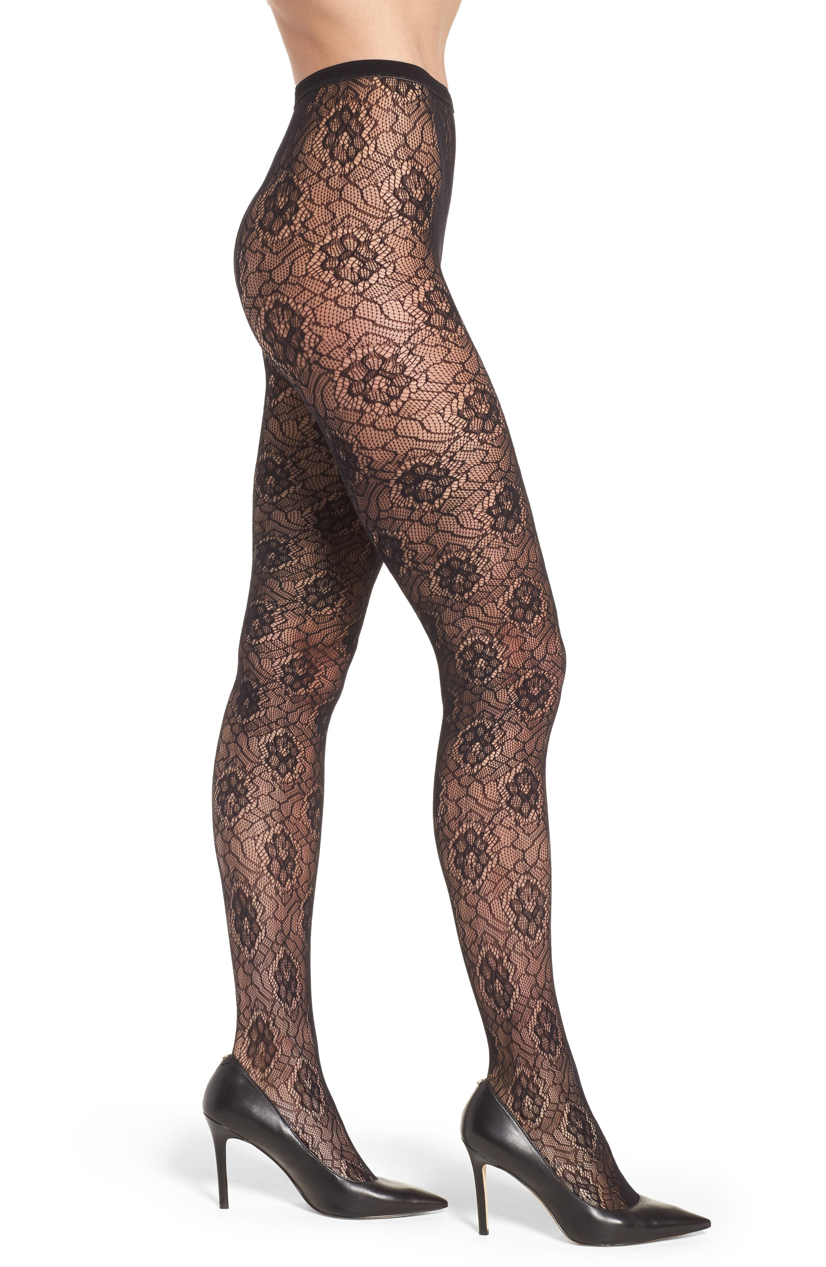 Large Rose Tights,                             Main thumbnail 1, color,                             001