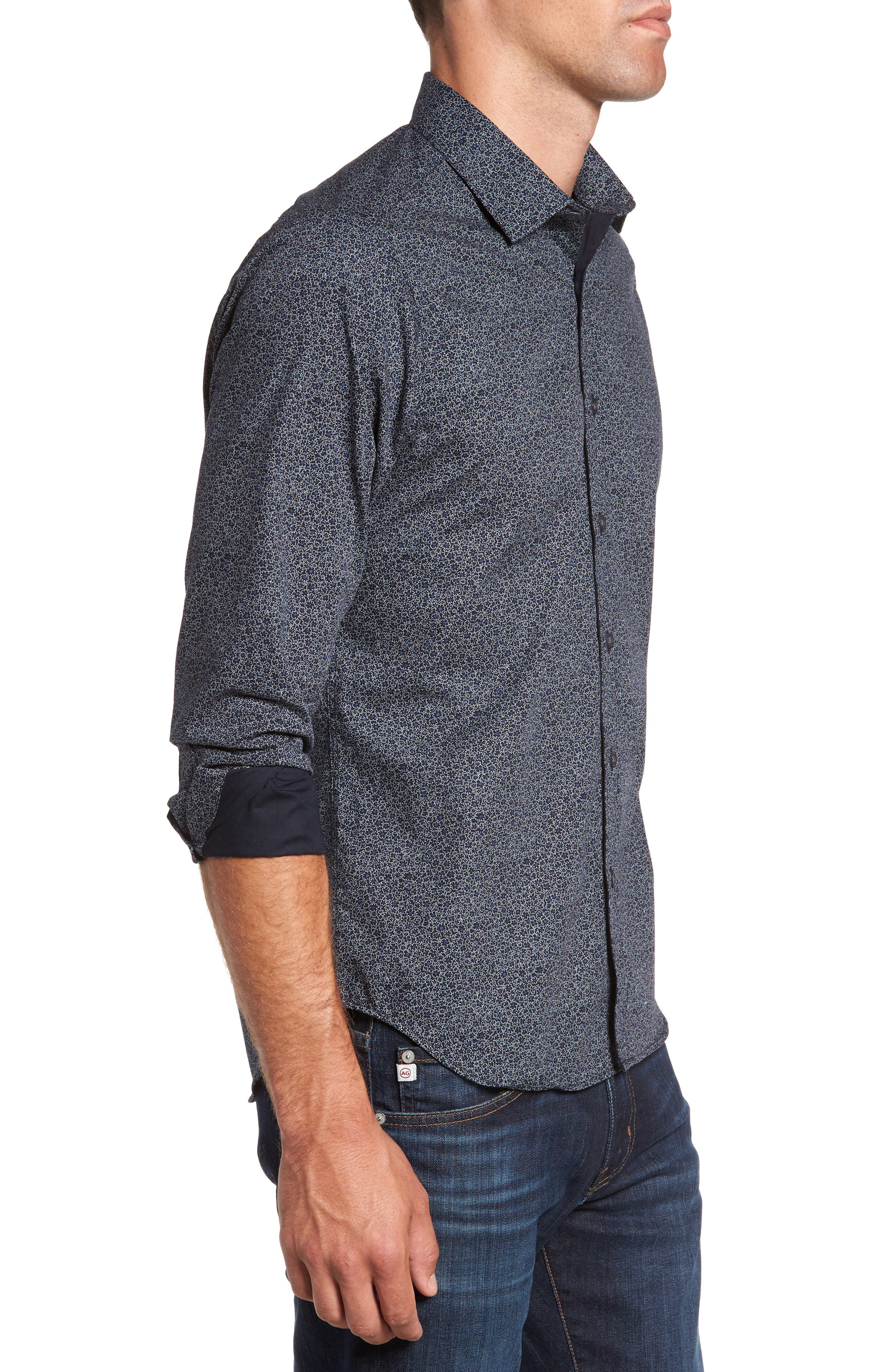 JEFF,                             Jackson Slim Fit Floral Print Sport Shirt,                             Alternate thumbnail 3, color,                             001