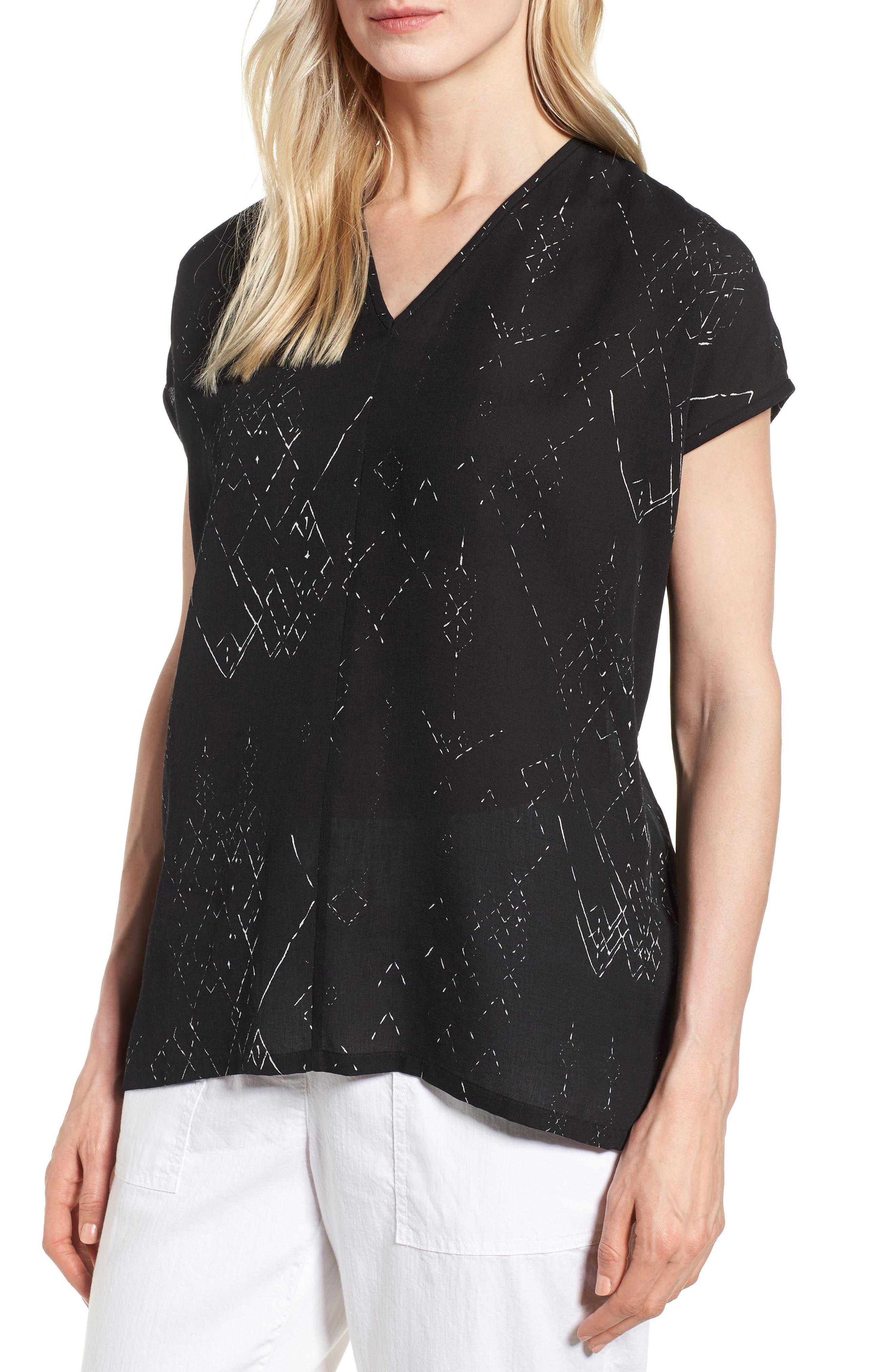 V-Neck Silk Blend Top,                         Main,                         color,