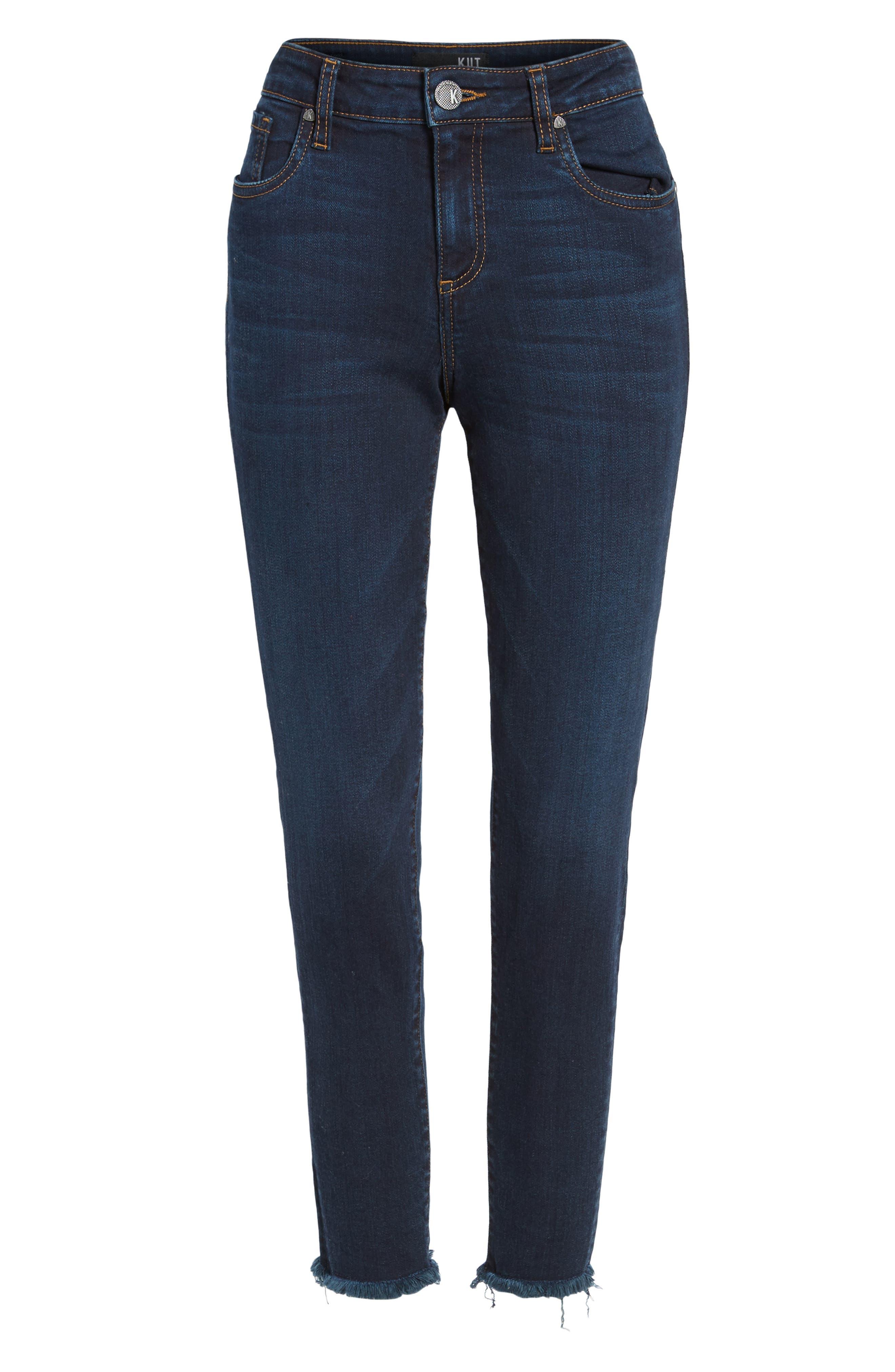 Donna Frayed Skinny Crop Jeans,                             Alternate thumbnail 6, color,                             491