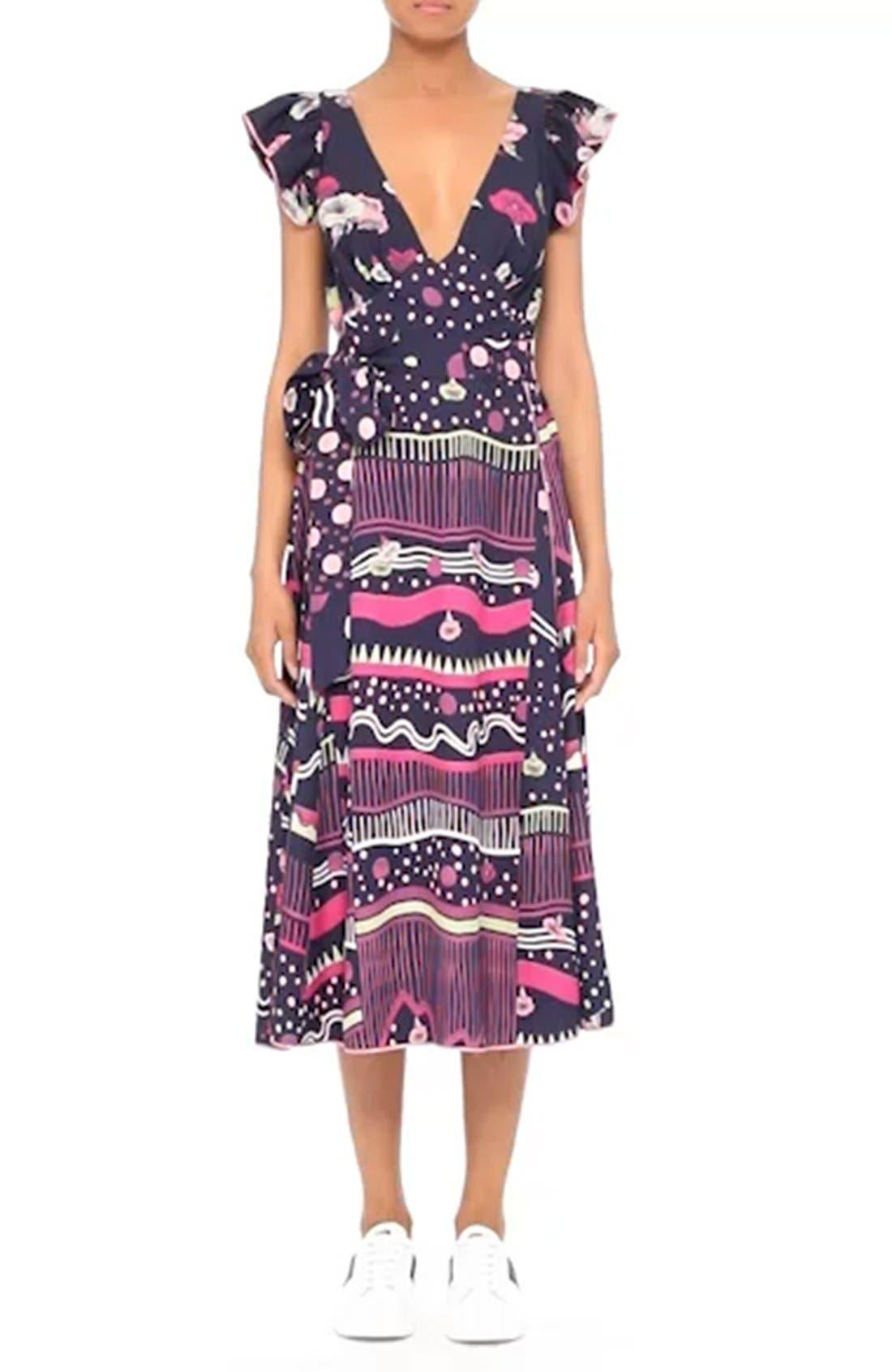 Glories Crepe Back Satin Midi Wrap Dress,                             Alternate thumbnail 7, color,                             411